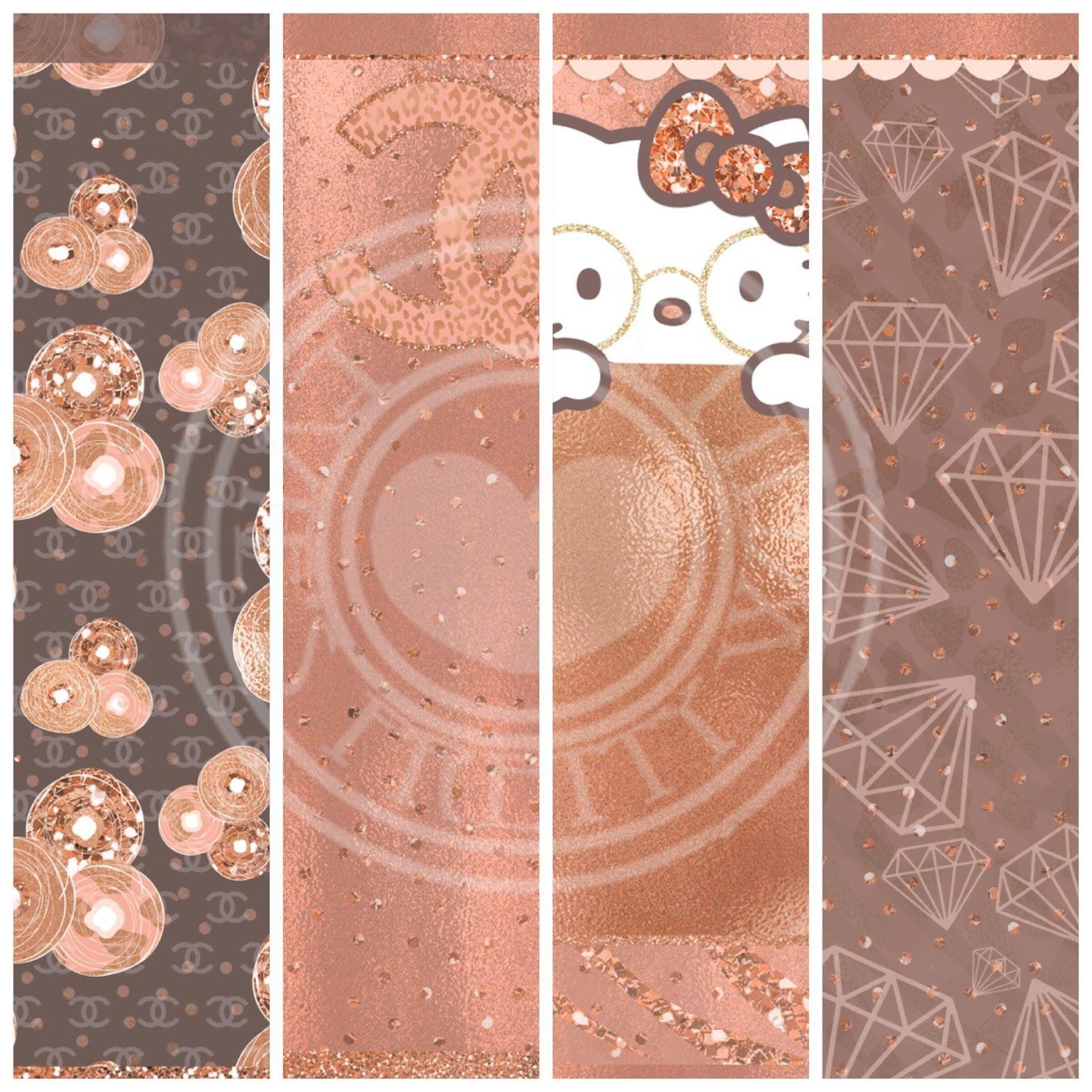 Pretty Walls: Rose gold 9 piece wallpaper set