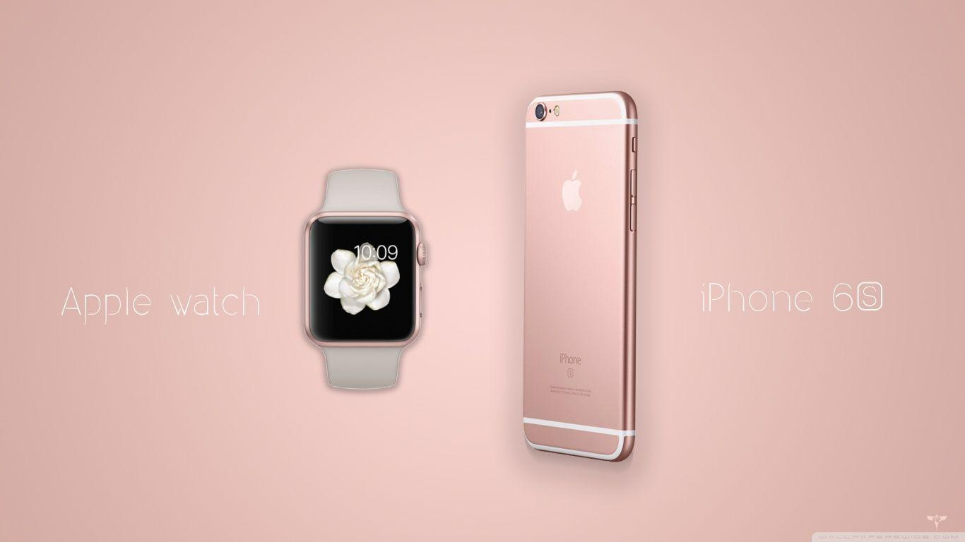 iPhone 6S and Apple Watch Rose Gold HD desktop wallpapers : High