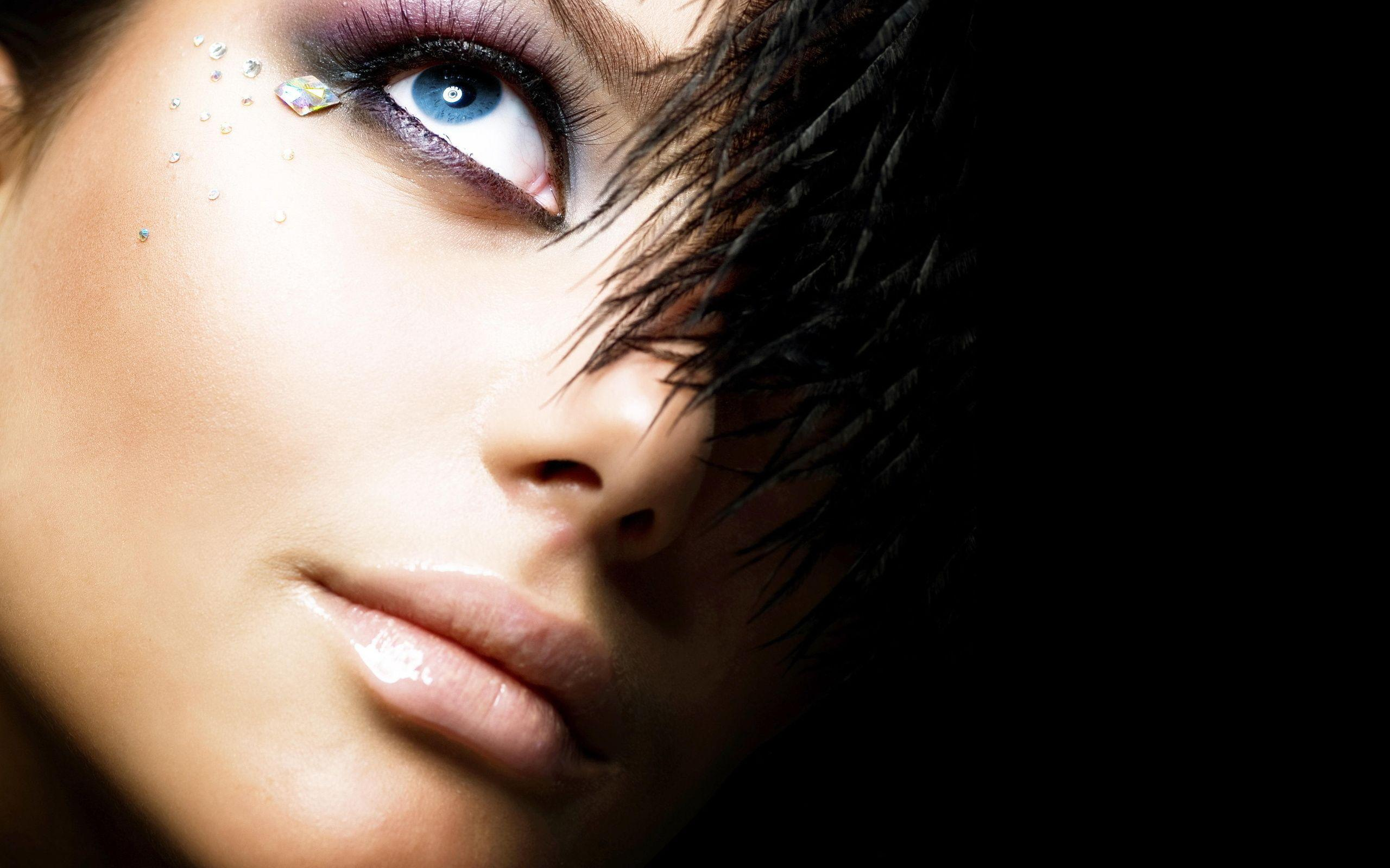 2560x1600 Feathers, Black Background, Girl, Rhinestones, Eyes ...