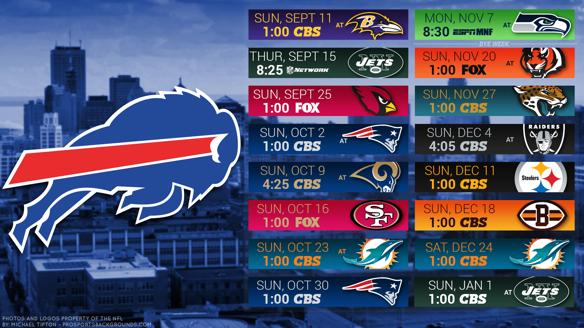 Buffalo Bills 2016 HD Schedule Wallpapers