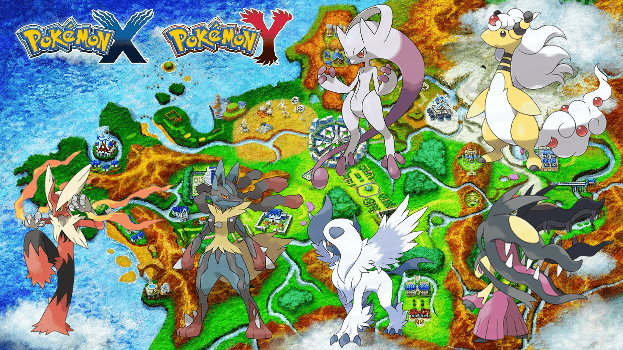 POKEMON X AND Y MEGA EVOLUTIONS WALLPAPER GEN 6 HD by jammyjet on