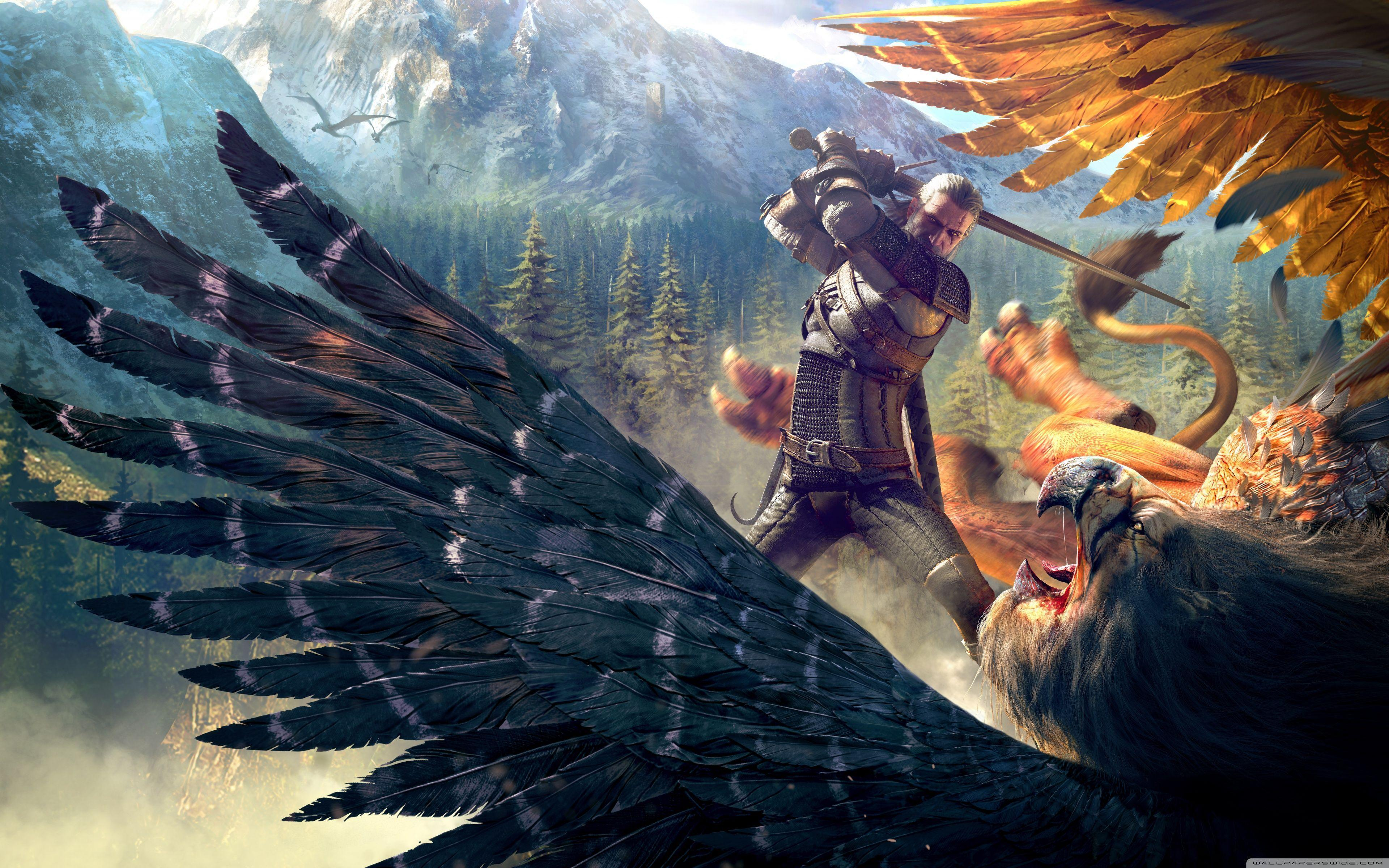 The Witcher 3 Wild Hunt Geralt and a Griffin HD desktop wallpapers
