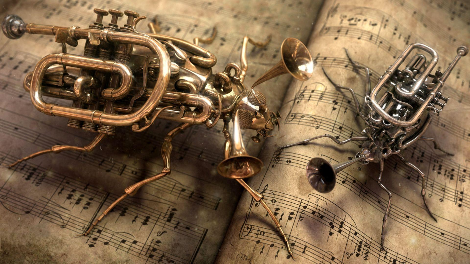 Steampunk bug trumpet [1920x1080] : wallpapers