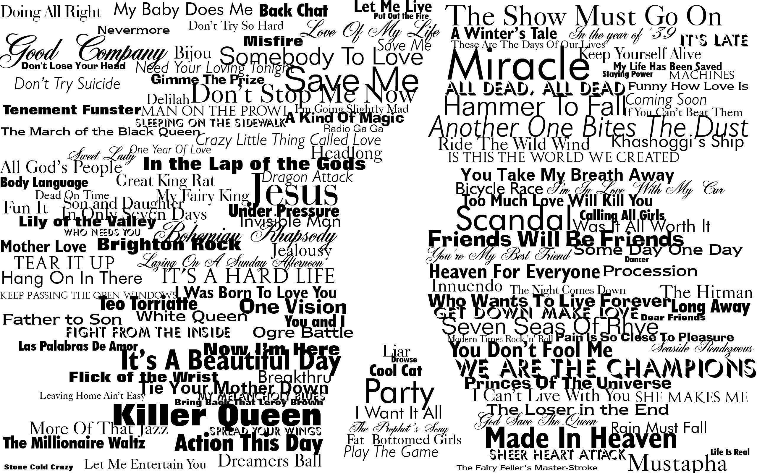 typography, Freddie Mercury, Queen, Silhouette Wallpapers HD