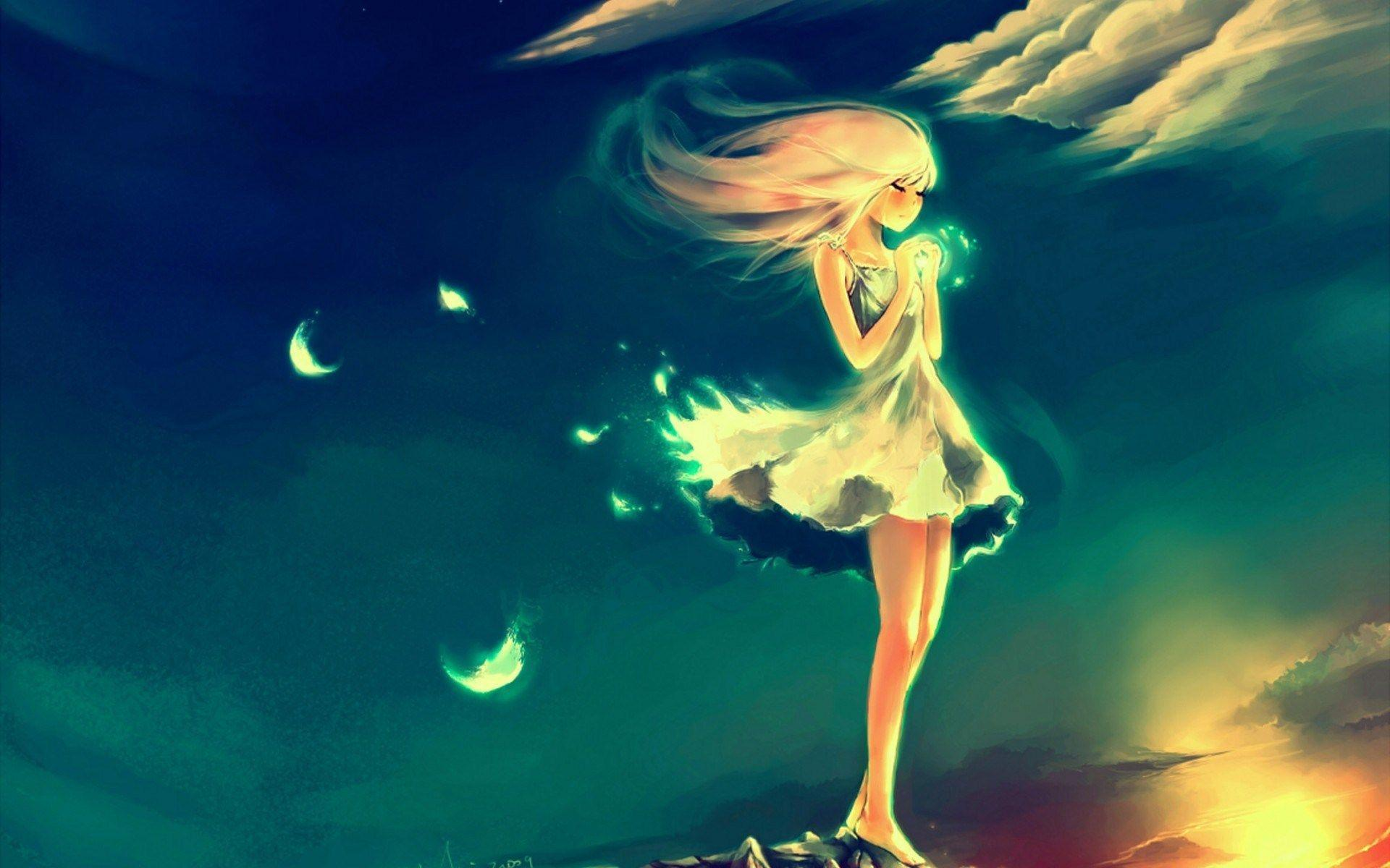 Angel cry alone so sad night sky feather art manga