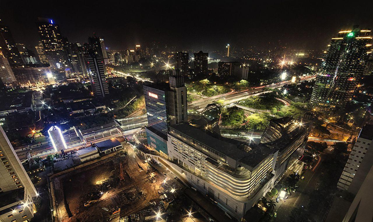 Wallpapers Indonesia Houses Roads Jakarta Night Street lights From ...