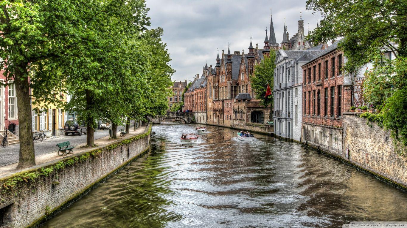 The Groenerei Canal in Bruges (Belgium) HD desktop wallpaper ...
