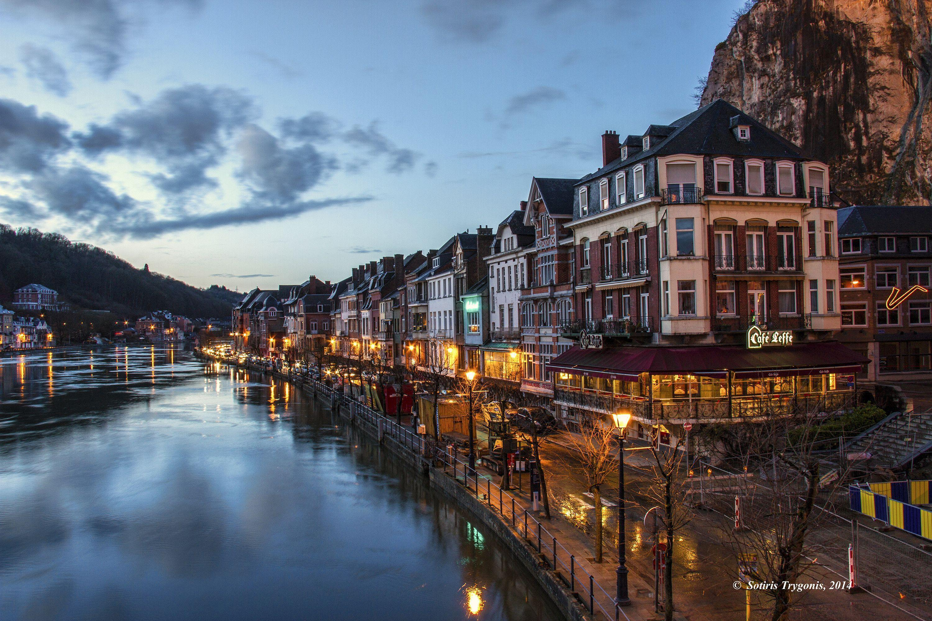 Wallpapers Belgium Houses Sky Dinant Canal Night Street lights ...