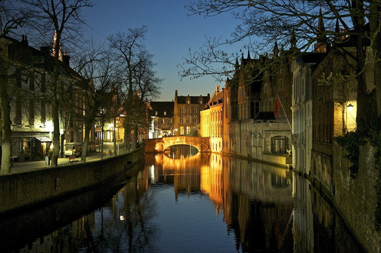 Wallpapers Belgium Rivers Houses Bruges Canal Cities download photo