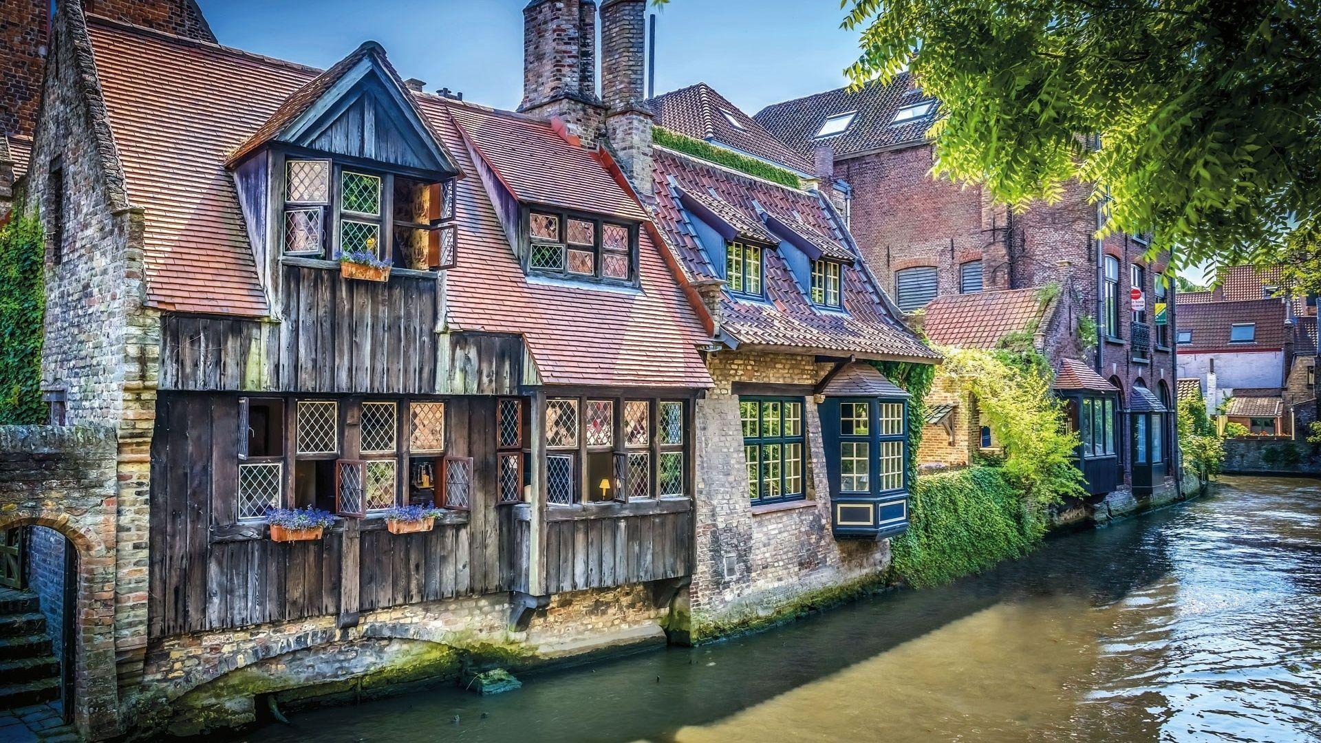 1920x1080 Brugge, Belgium, Houses, Watter City, Brugge Canal ...