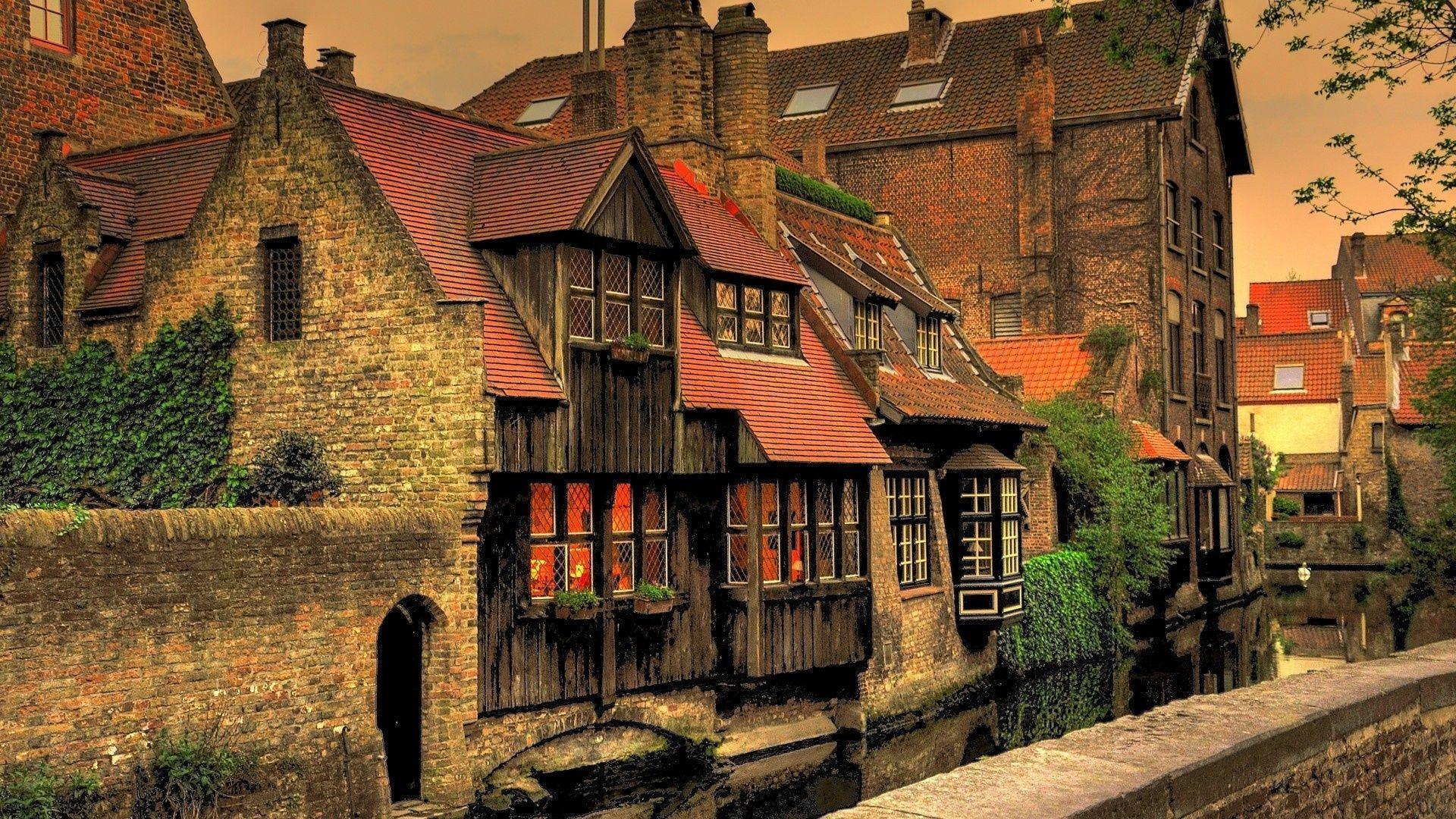 1920x1080 Brugge, Belgium, Houses, Watter City, Brugge, Canal ...