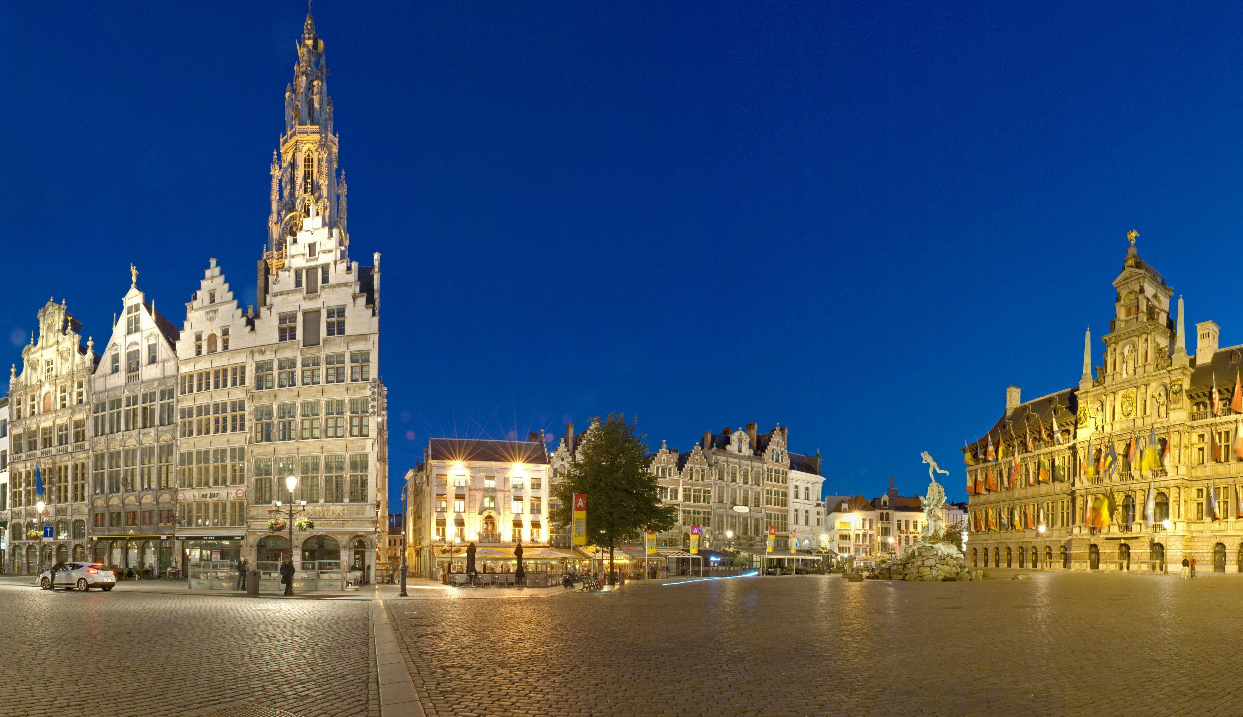 Wallpapers Belgium Houses Antwerp Street Pavement Night Cities ...