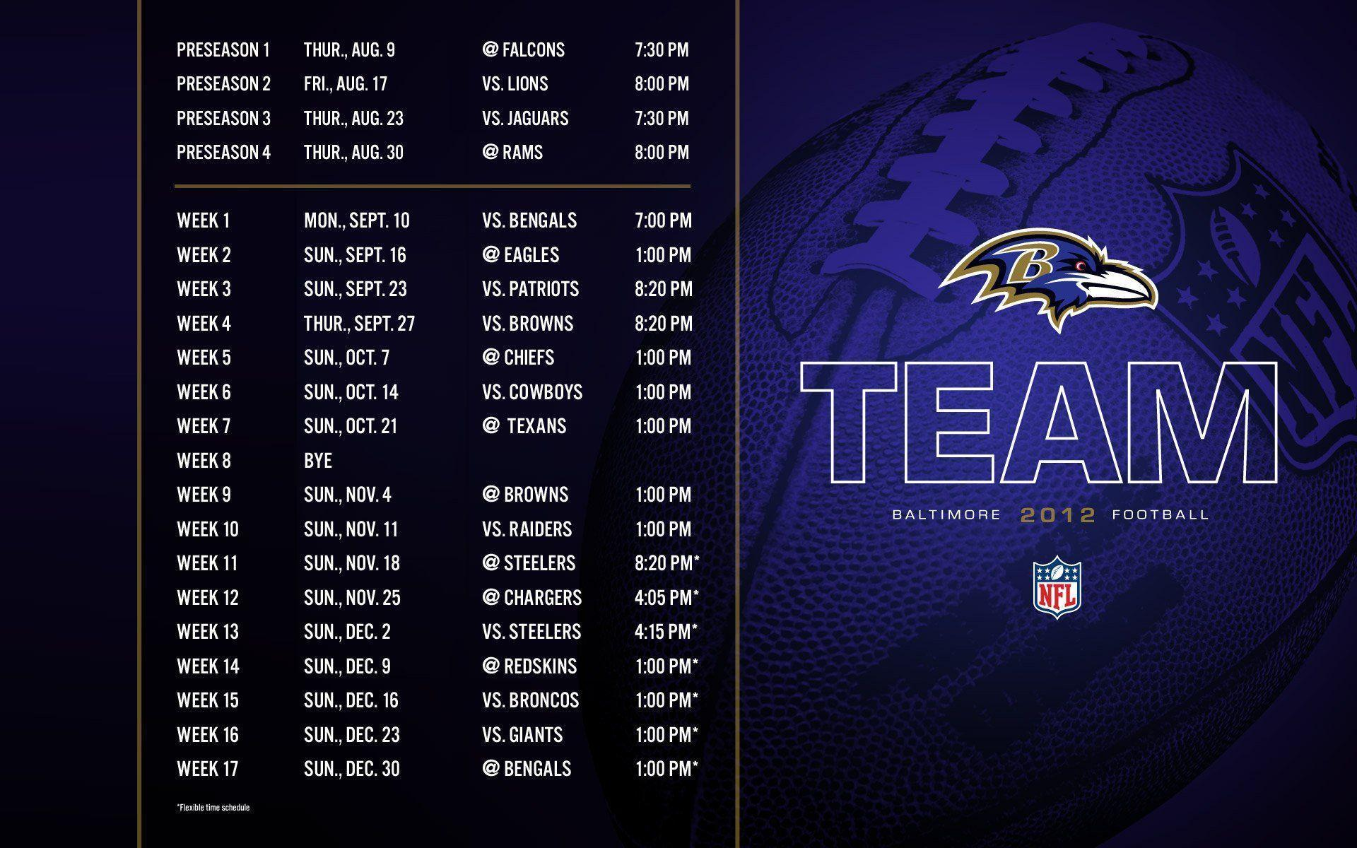 Baltimore Ravens Schedule 2012 Wallpaper 757865 - WallDevil
