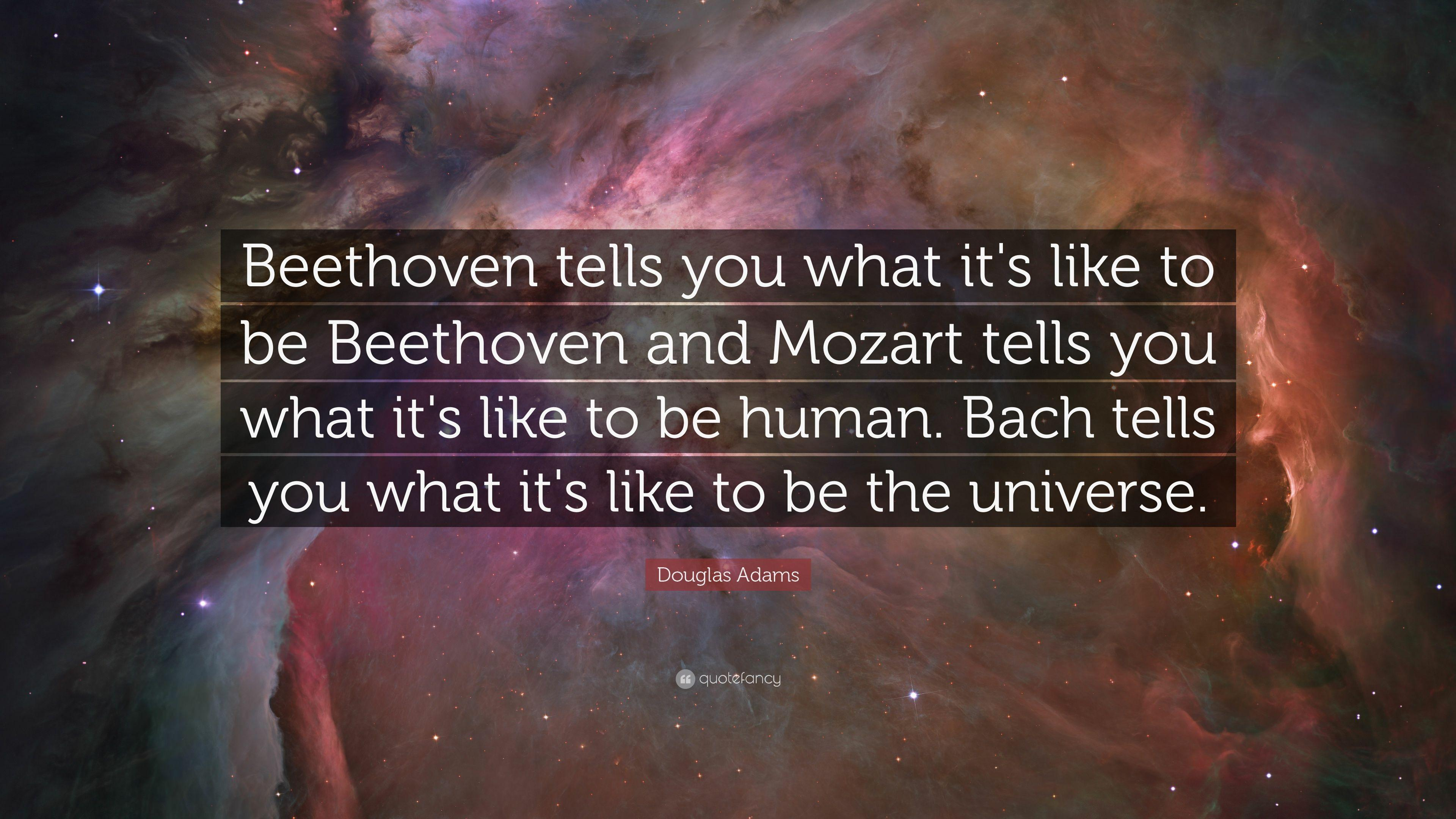 "Douglas Adams Quote: ""Beethoven tells you what it's like to be ..."