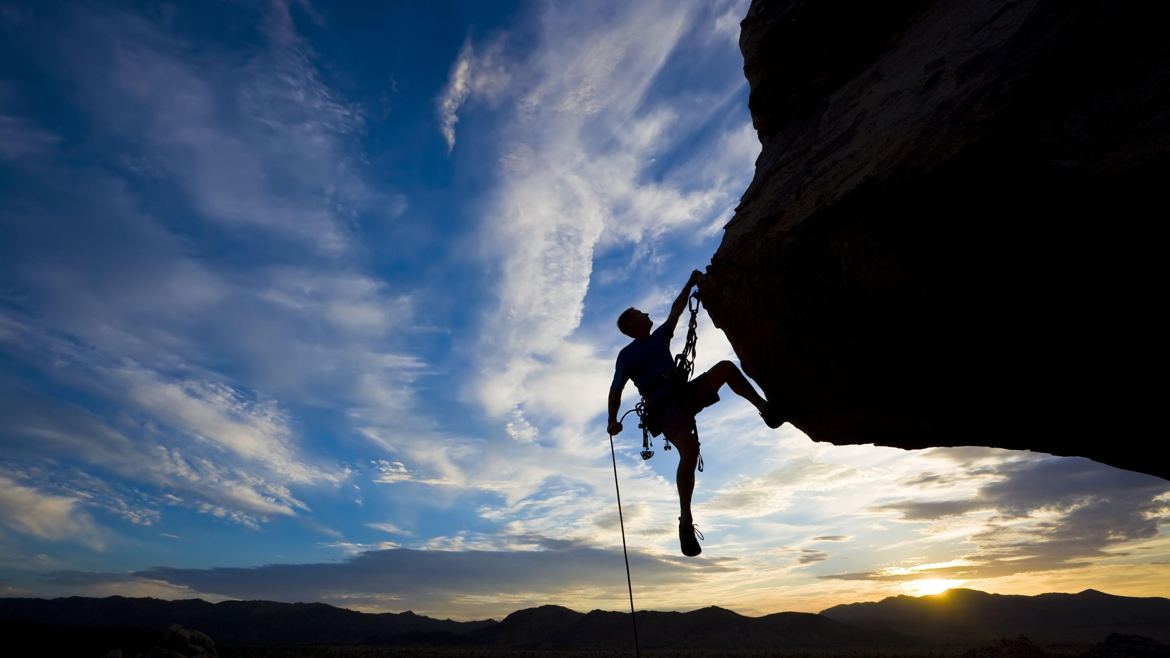 Download Wallpapers 3840x2160 Climber, Extreme, Silhouette