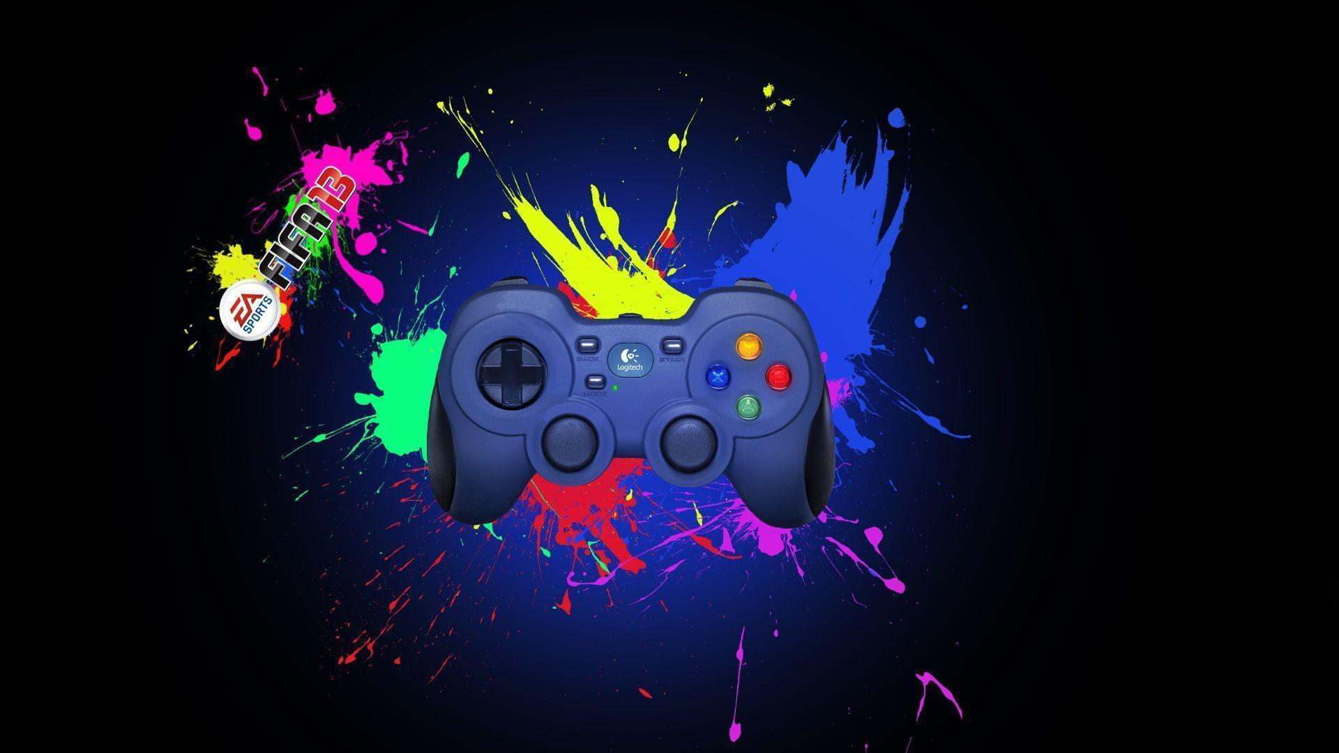 Black background, joystick, Logitech wallpapers and image