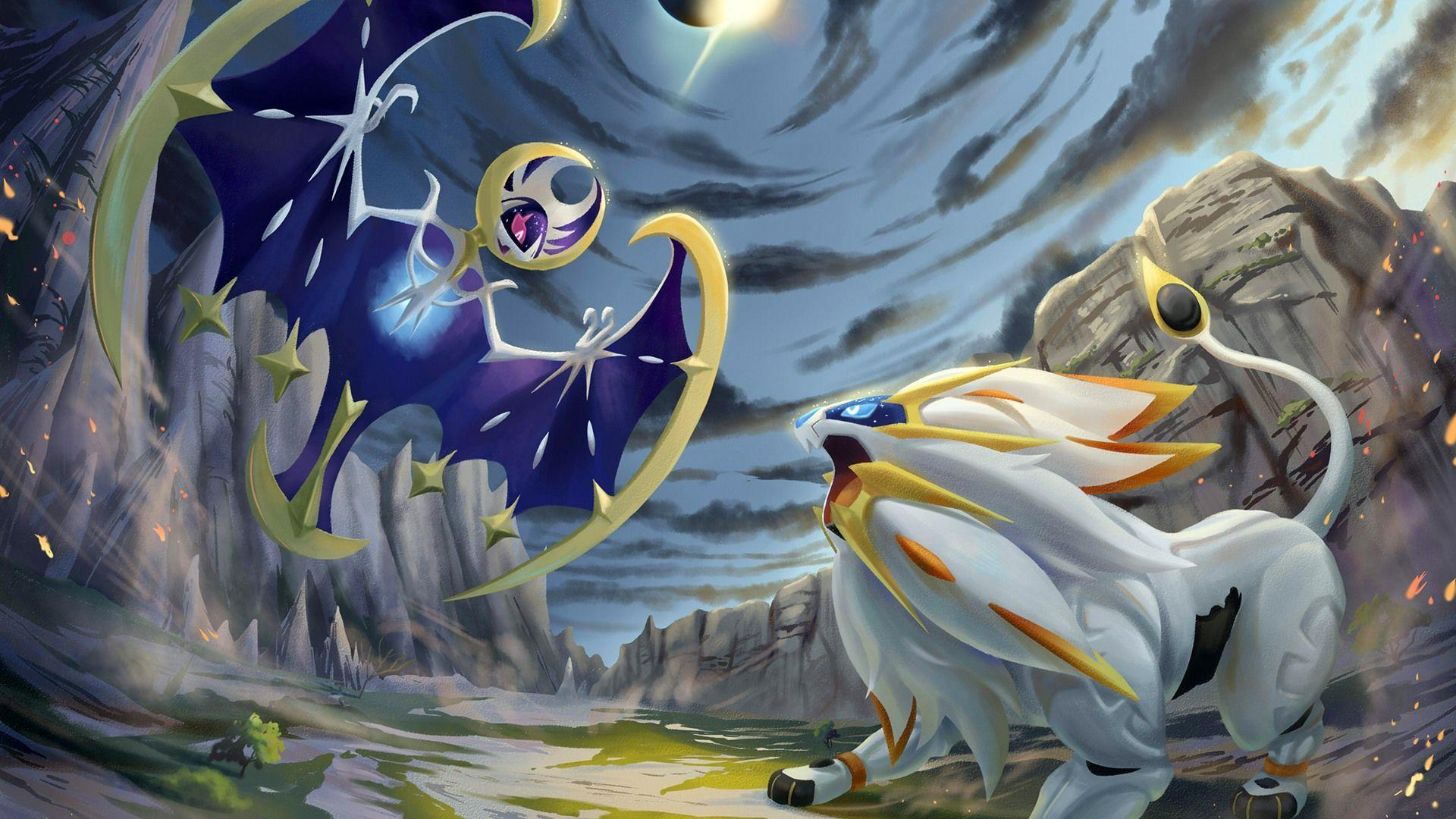 Pokemon Sun and Moon Solgaleo vs Lun... Wallpapers