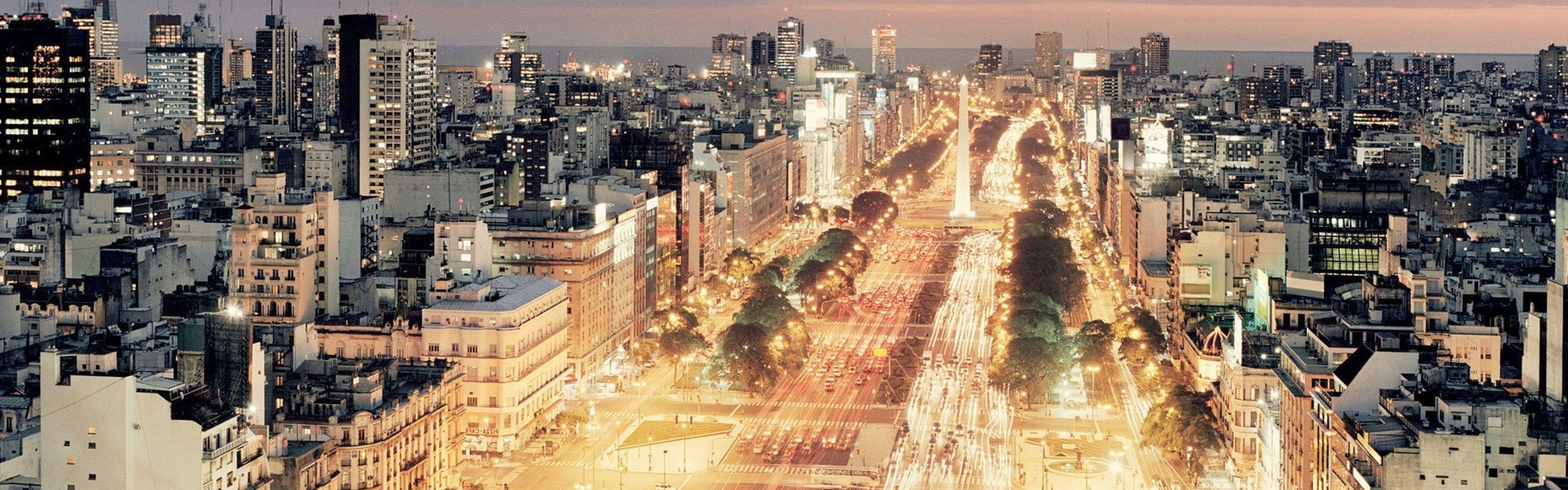 Download Wallpaper 3840x1200 Buenos aires, Traffic, City, Night ...