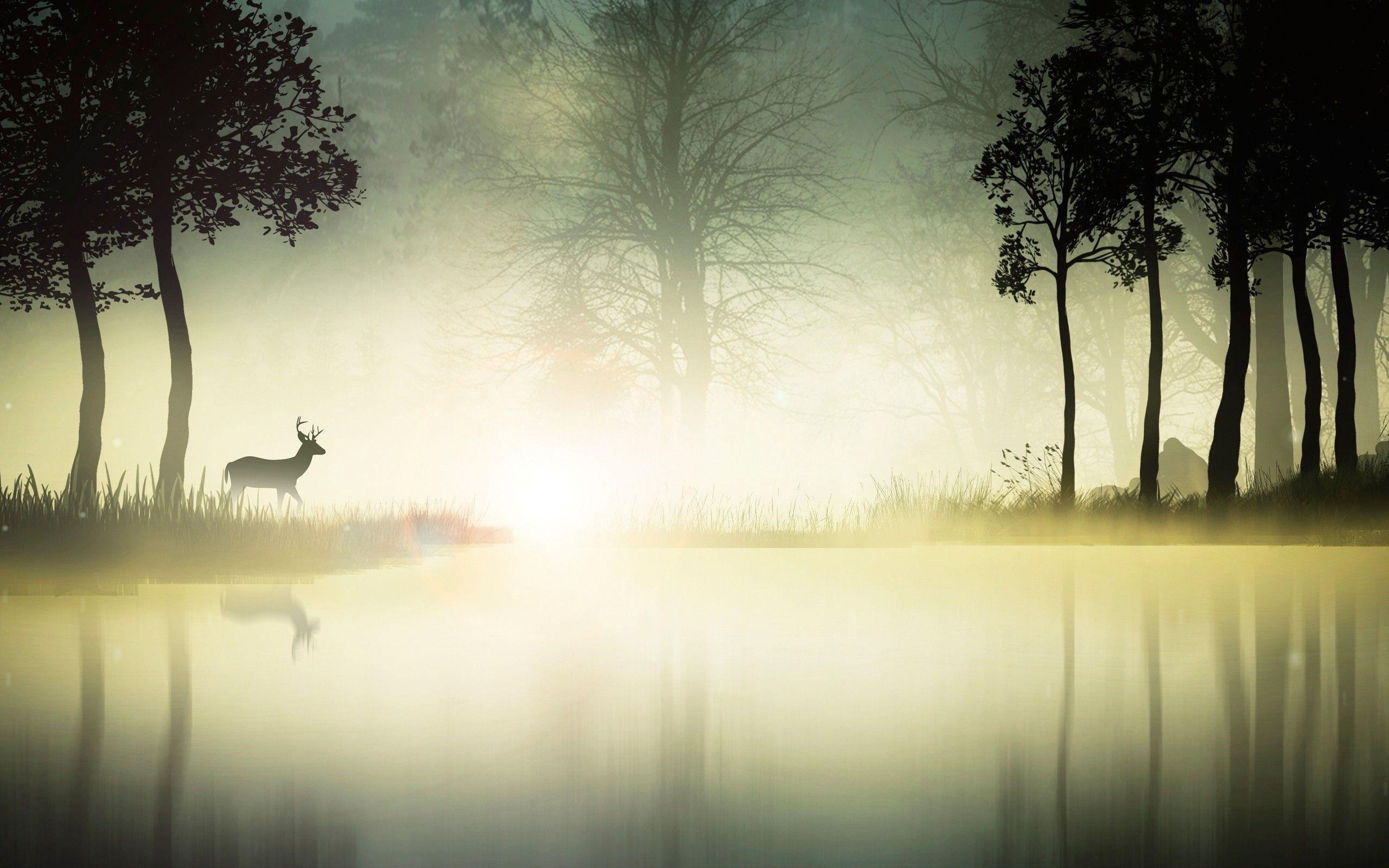 nature, Environment, Landscape, River, Deer, Animals Wallpapers HD