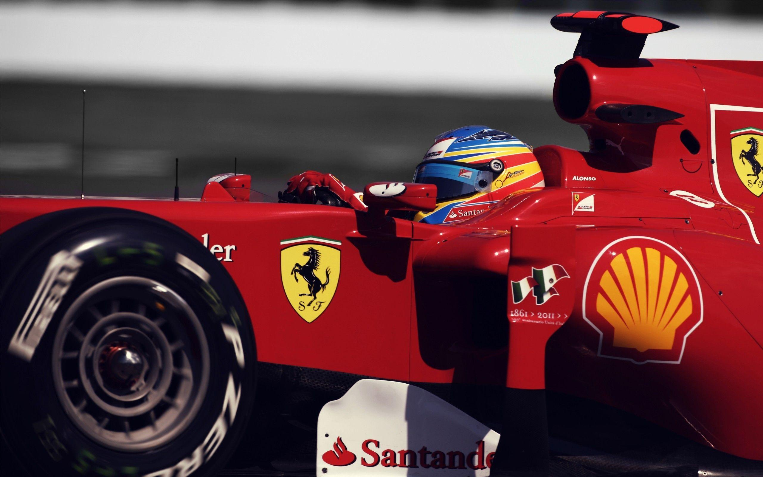 Fernando Alonso Driving Ferrari Scuderia at Formula One widescreen