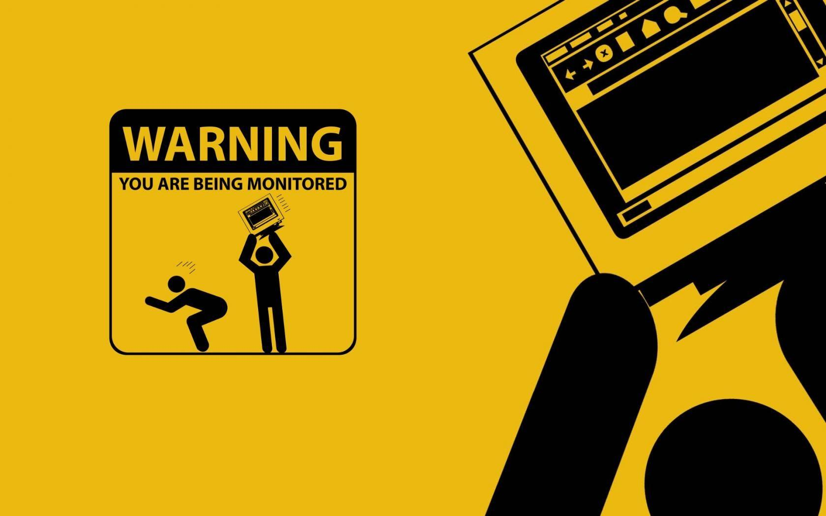 Caution funny minimalistic monitor warning wallpaper | (43198)