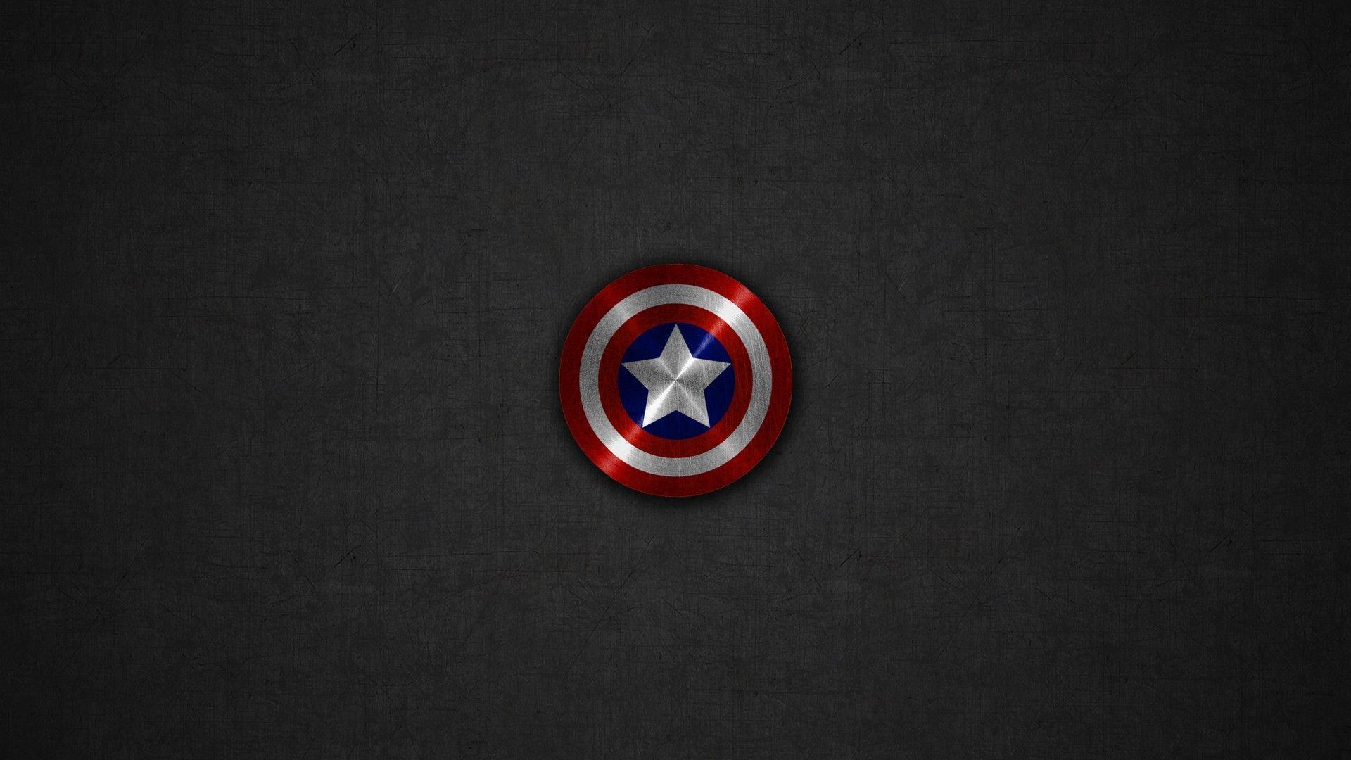 Captain America Shield Gray Linen Background Desktop Wallpaper