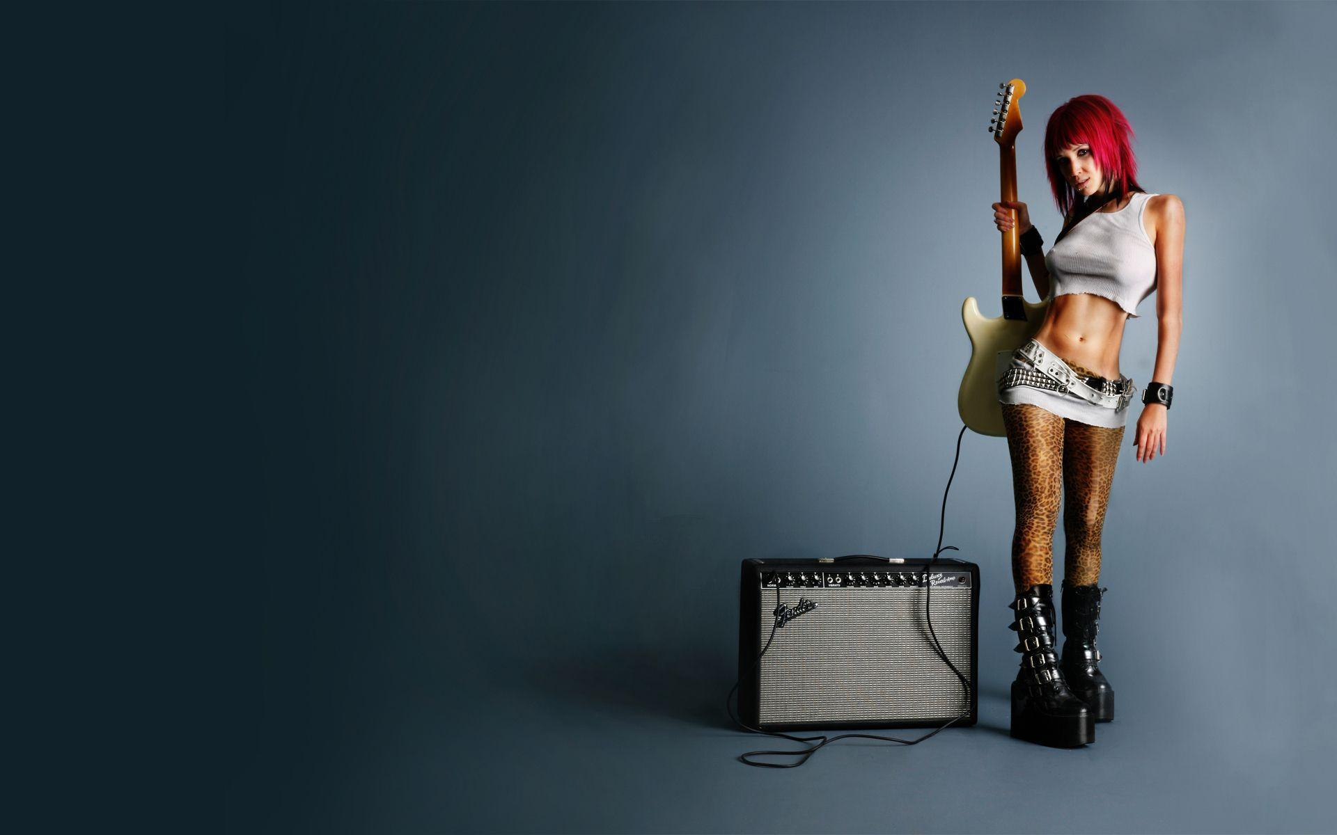 hard, rock, babe,Music, guitar, speakers wallpapers