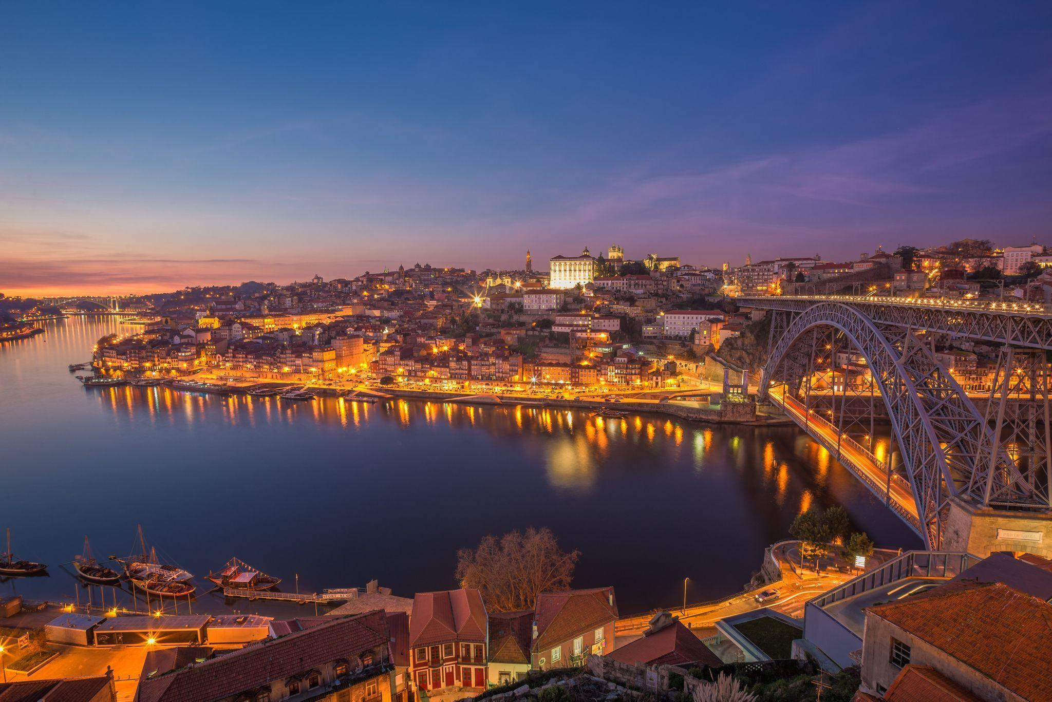 Pictures Oporto Portugal Bridges Night Rivers Cities