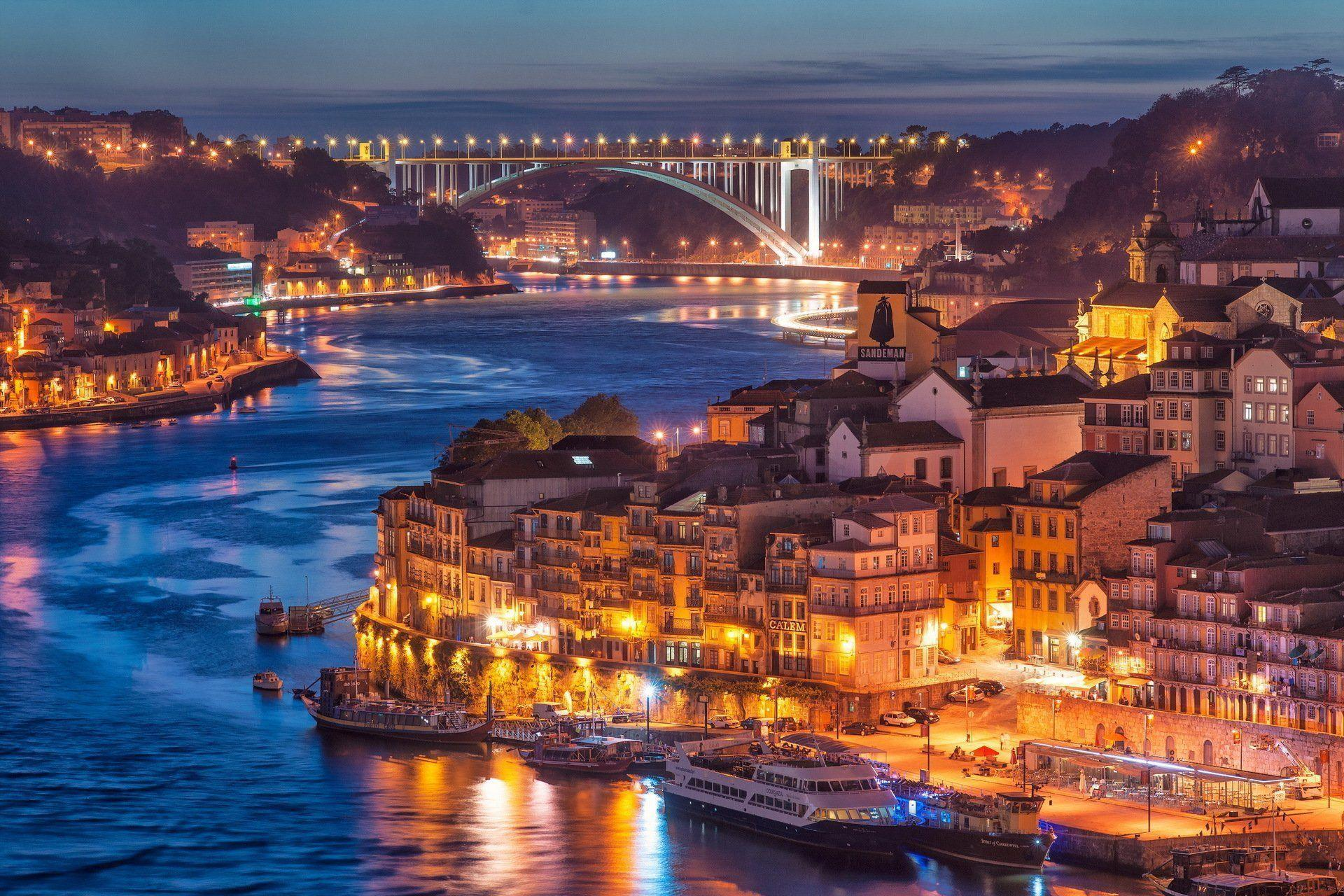 nightfall in porto city river bridge HD wallpaper