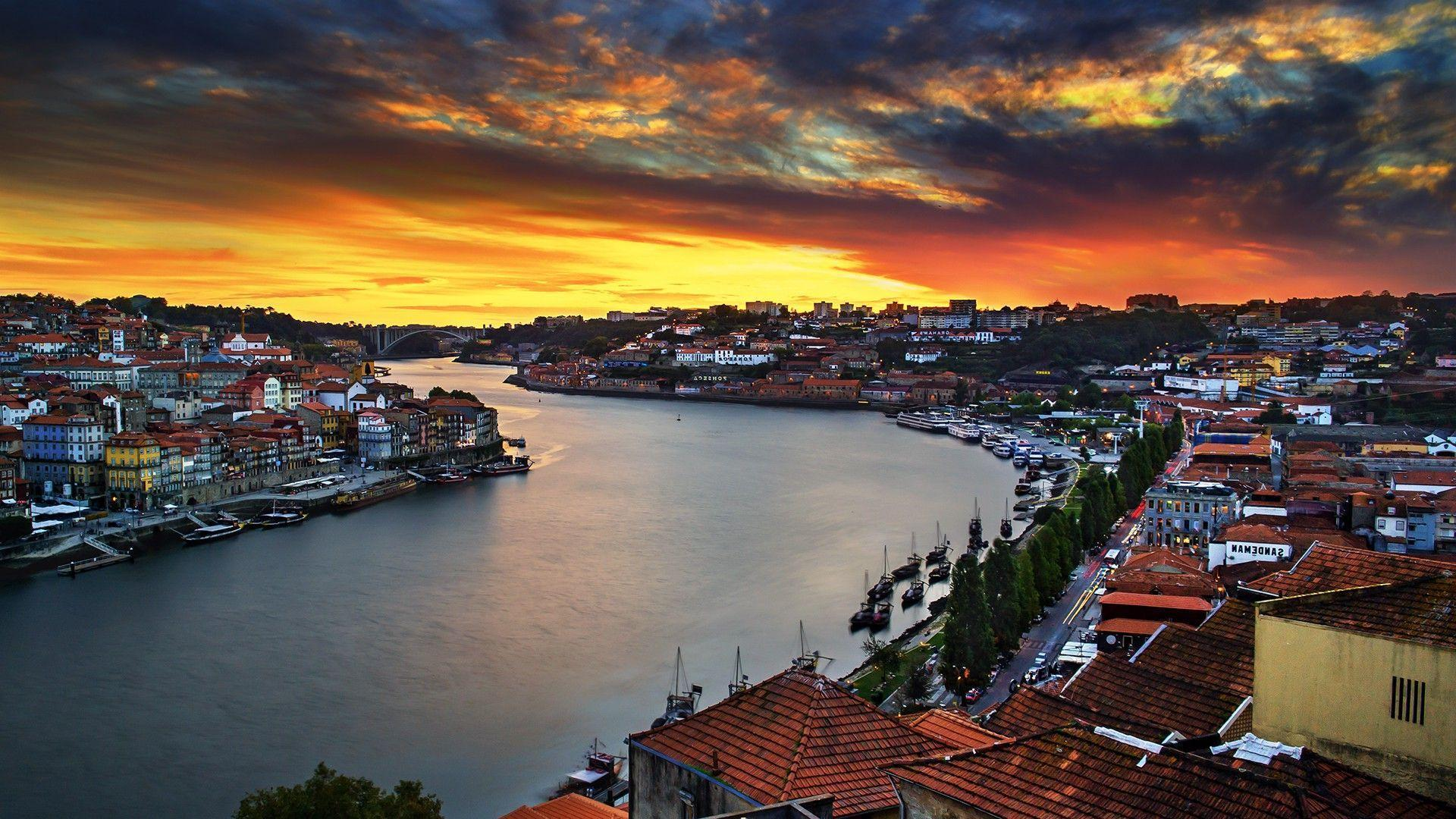 Portugal, Porto, House, River, Sunset, Bridge, Landscape, Boat ...