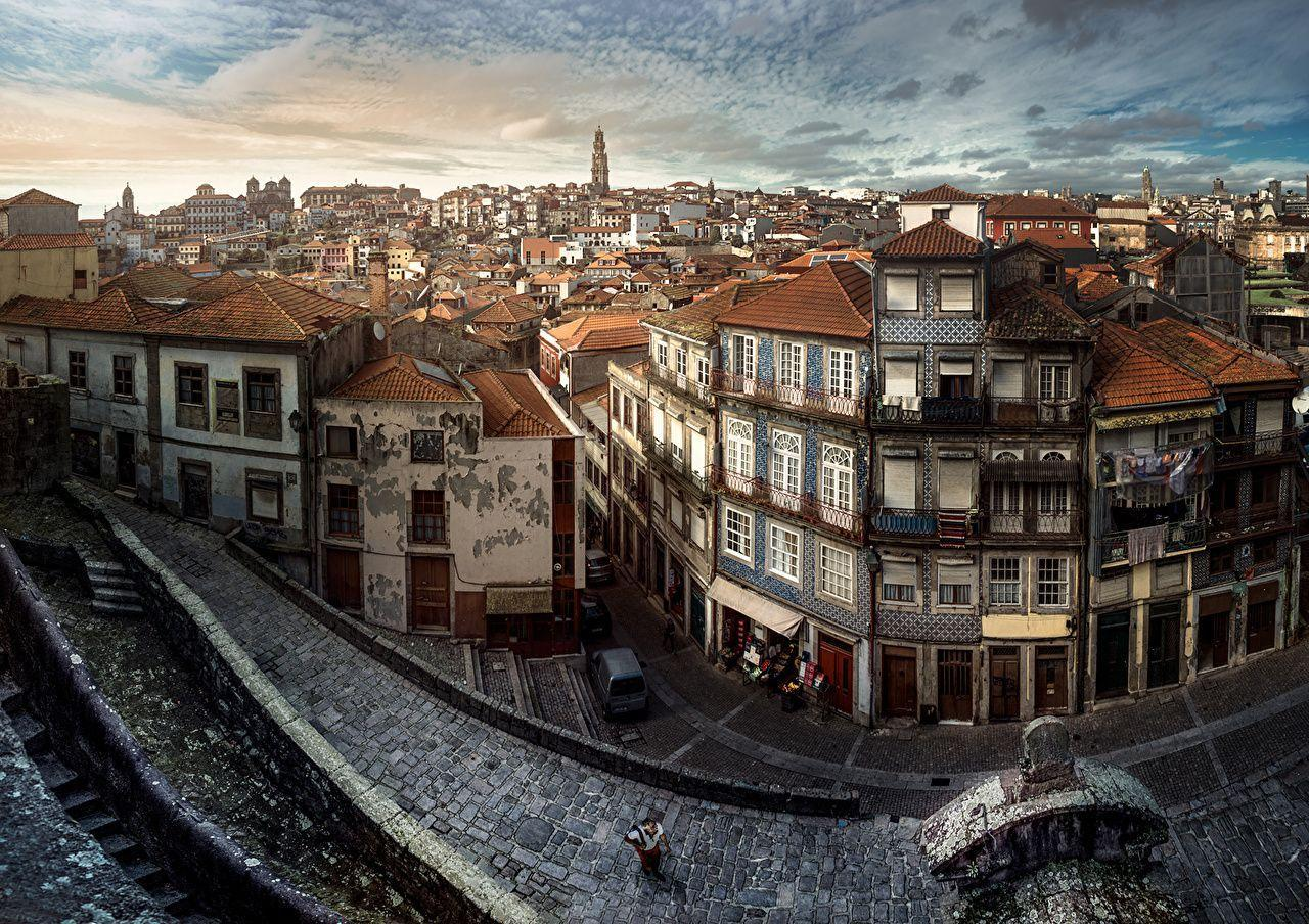 Image Oporto Portugal Street Cities Houses
