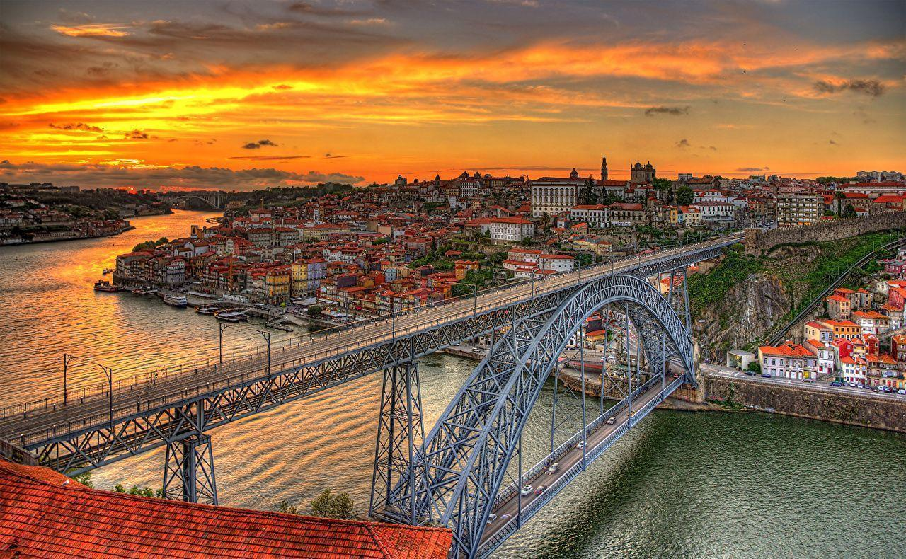 Images Porto Portugal Canal Bridges Sunrises and sunsets Cities