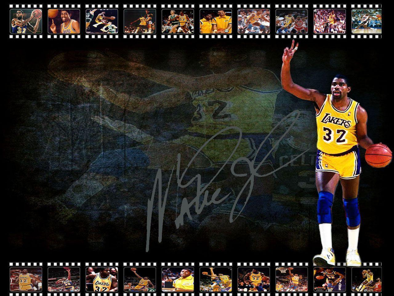 Magic Johnson LA Lakers Signed Wallpapers