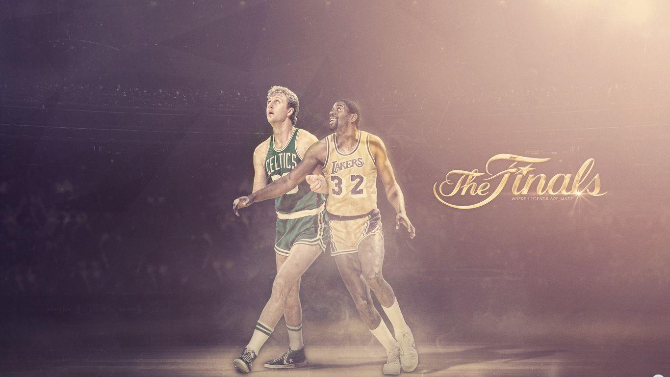 1366x768 larry bird, boston, lakers, larry bird, earvin johnson