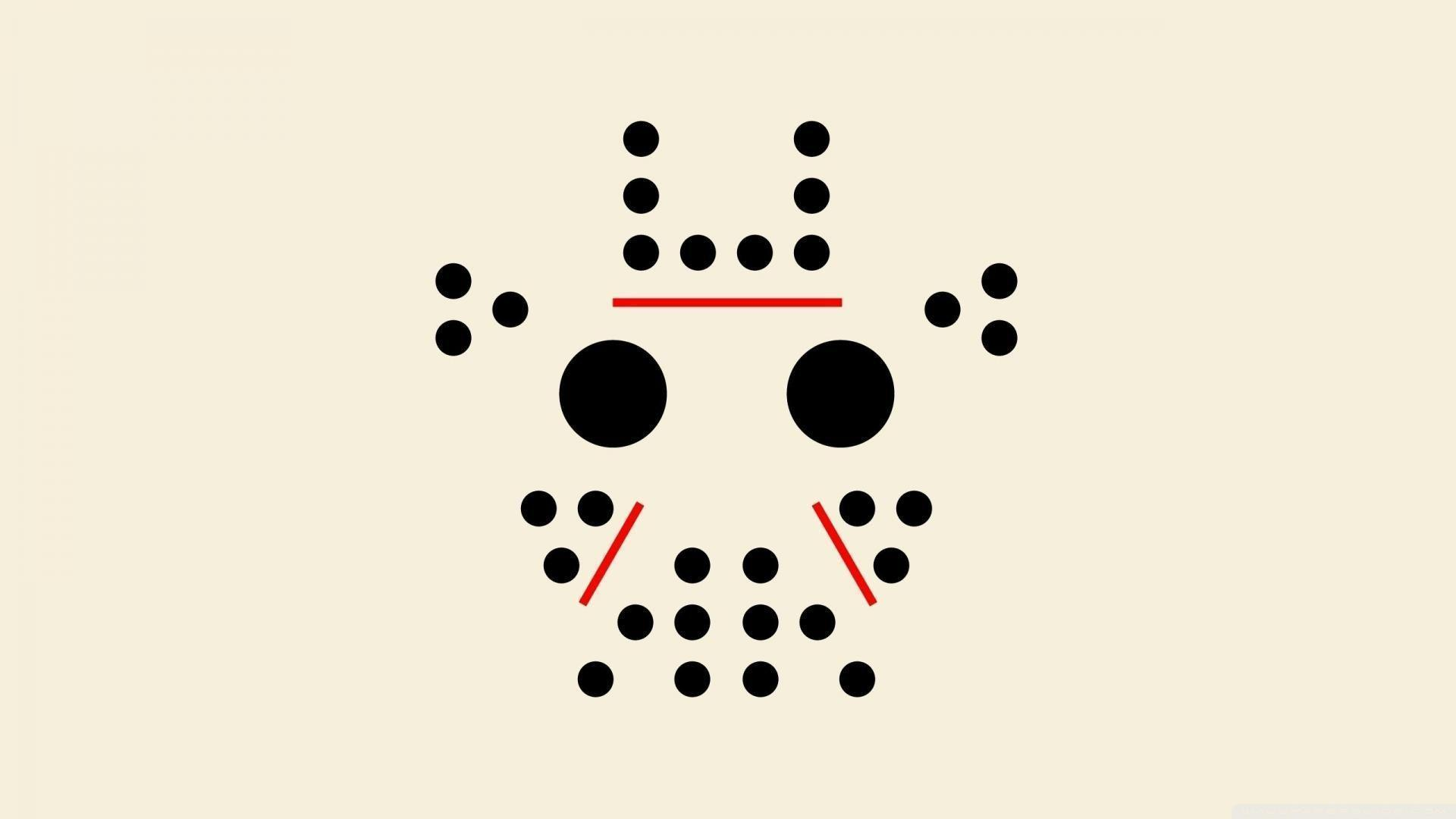 Minimalistic friday the 13th dots jason voorhees faces wallpapers