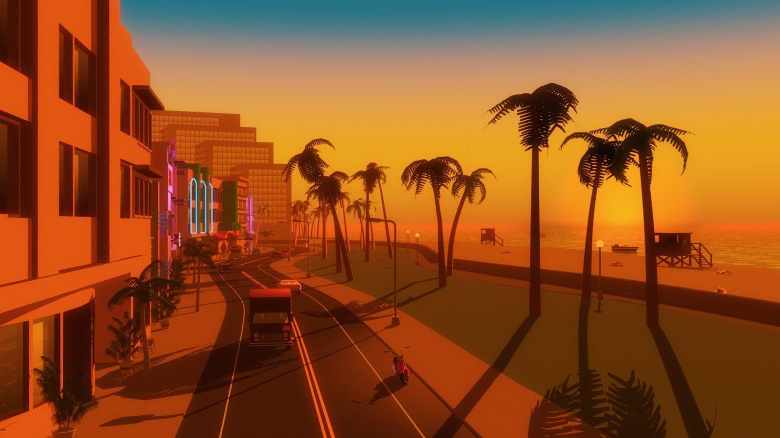 Video games palm trees gta vice city beach wallpapers