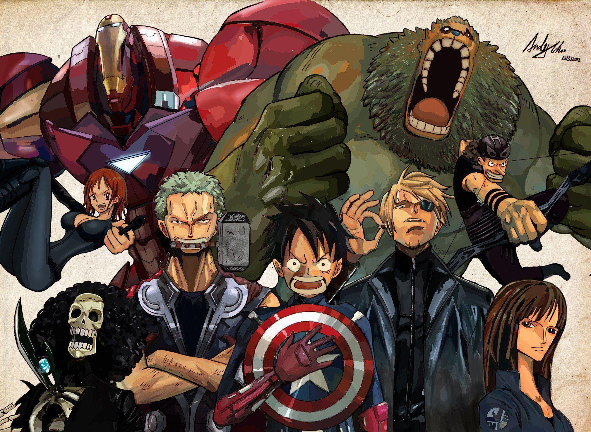 Anime Avengers Brook One Piece Franky Monkey D Luffy Nami Nico