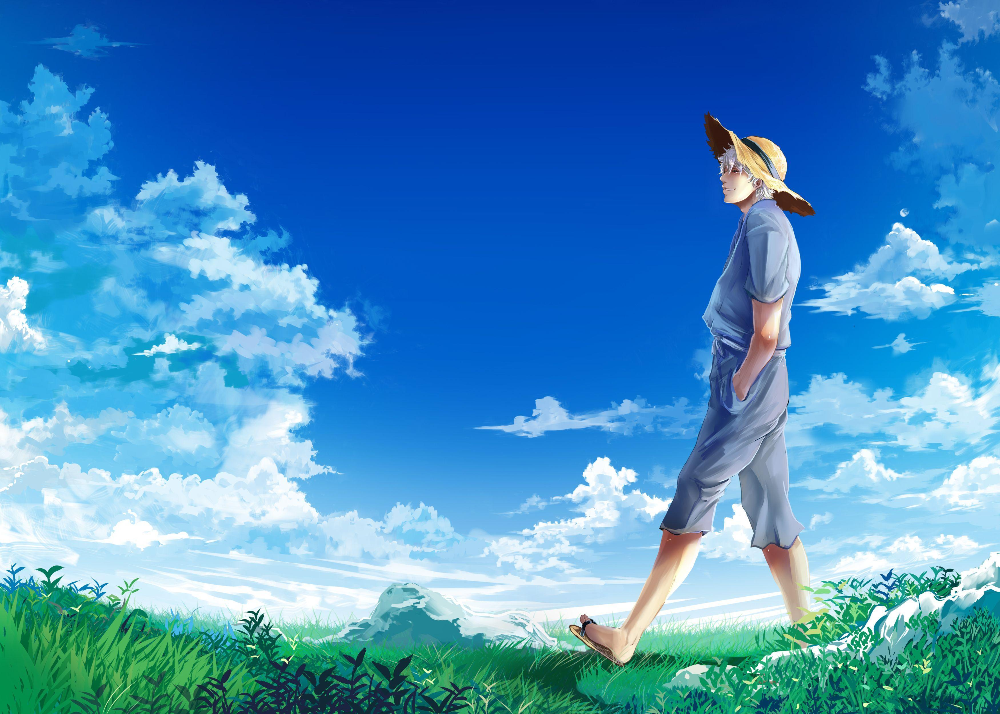 Download Wallpapers the sky, clouds, hat, meadow, guy, Gintama