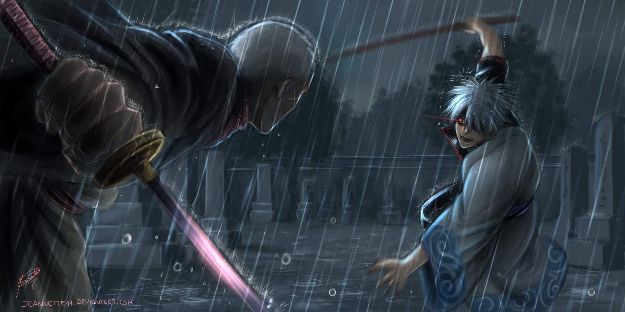 Wallpapers gintama, sakata gintoki, rain, anime