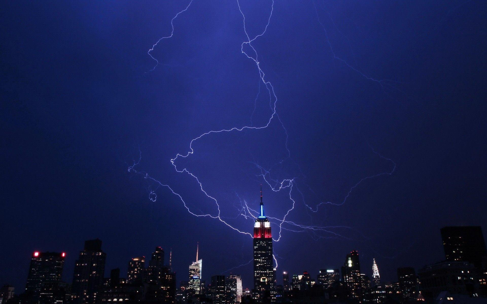 Storm empire state building lightning bolts wallpapers