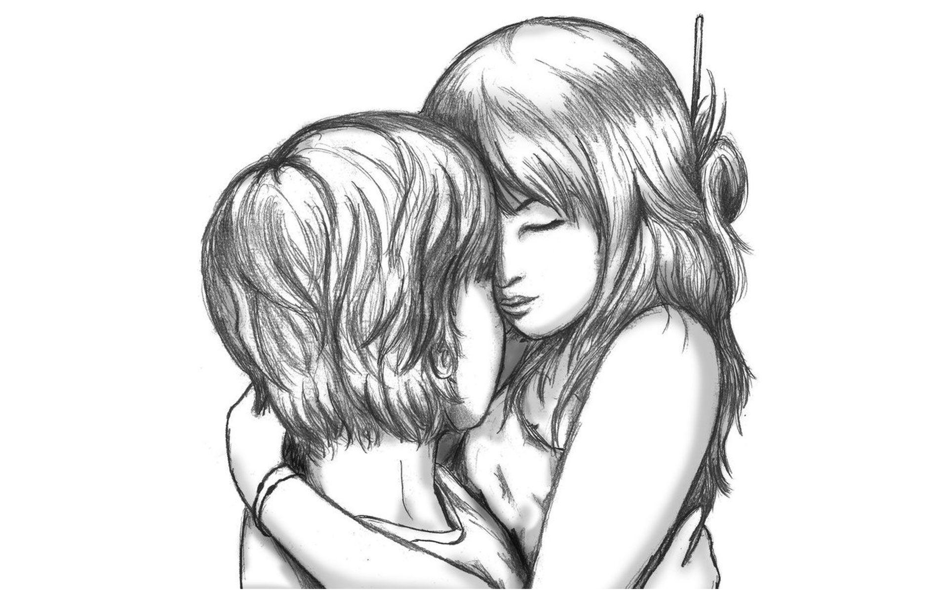 Pencil sketches wallpaper romantic girl boy drawing of sketch