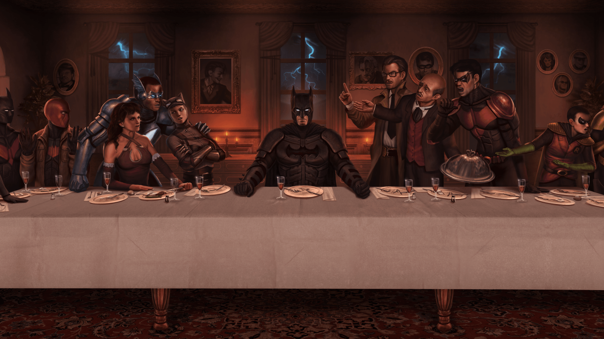 Red hood Dc comics The last supper Batman Nightwing Cne Robin