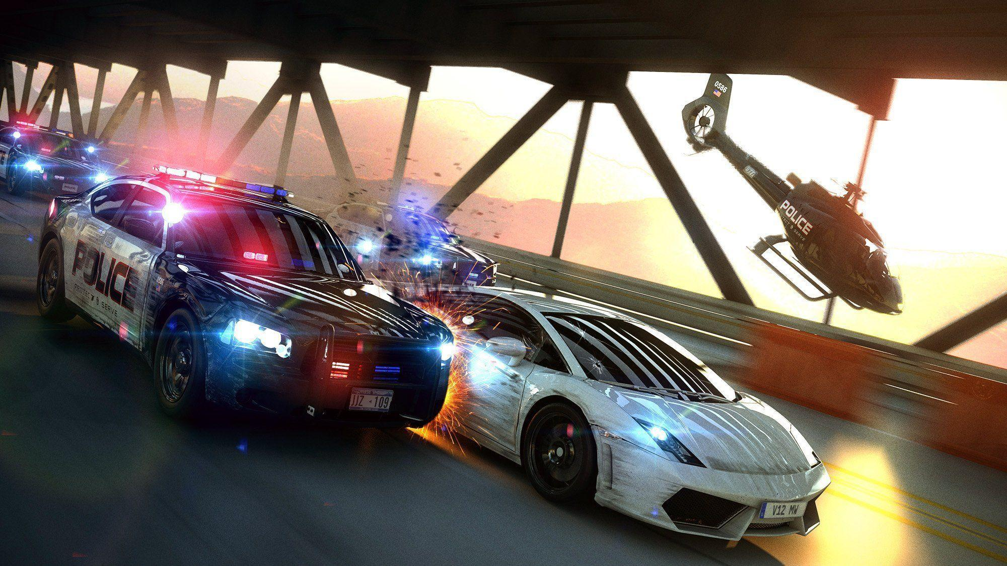 most wanted chase police cops bridge chase speed art HD wallpaper