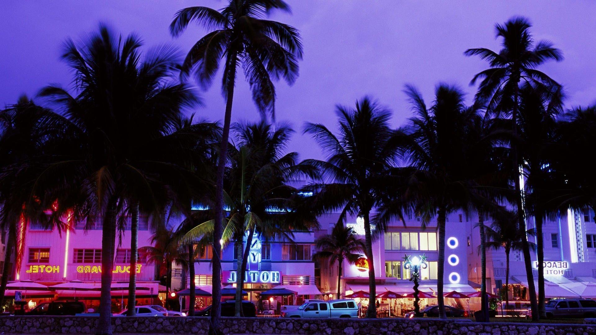 Grand Theft Auto Vice City, Hotels, Beach, Palm Trees, Neon ...