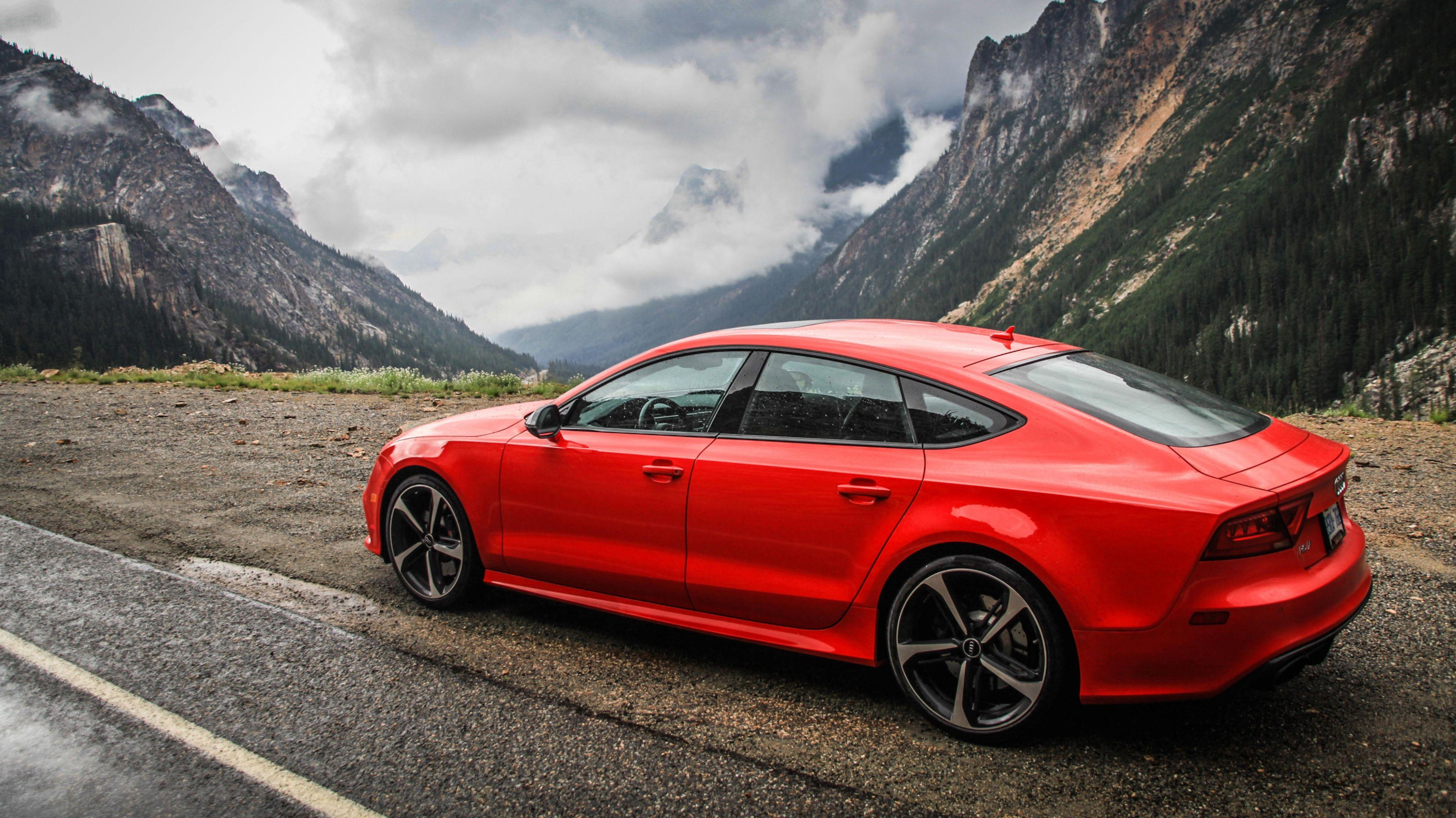 Download Wallpaper 3840x2160 Audi Rs7 Red Side View Mountain