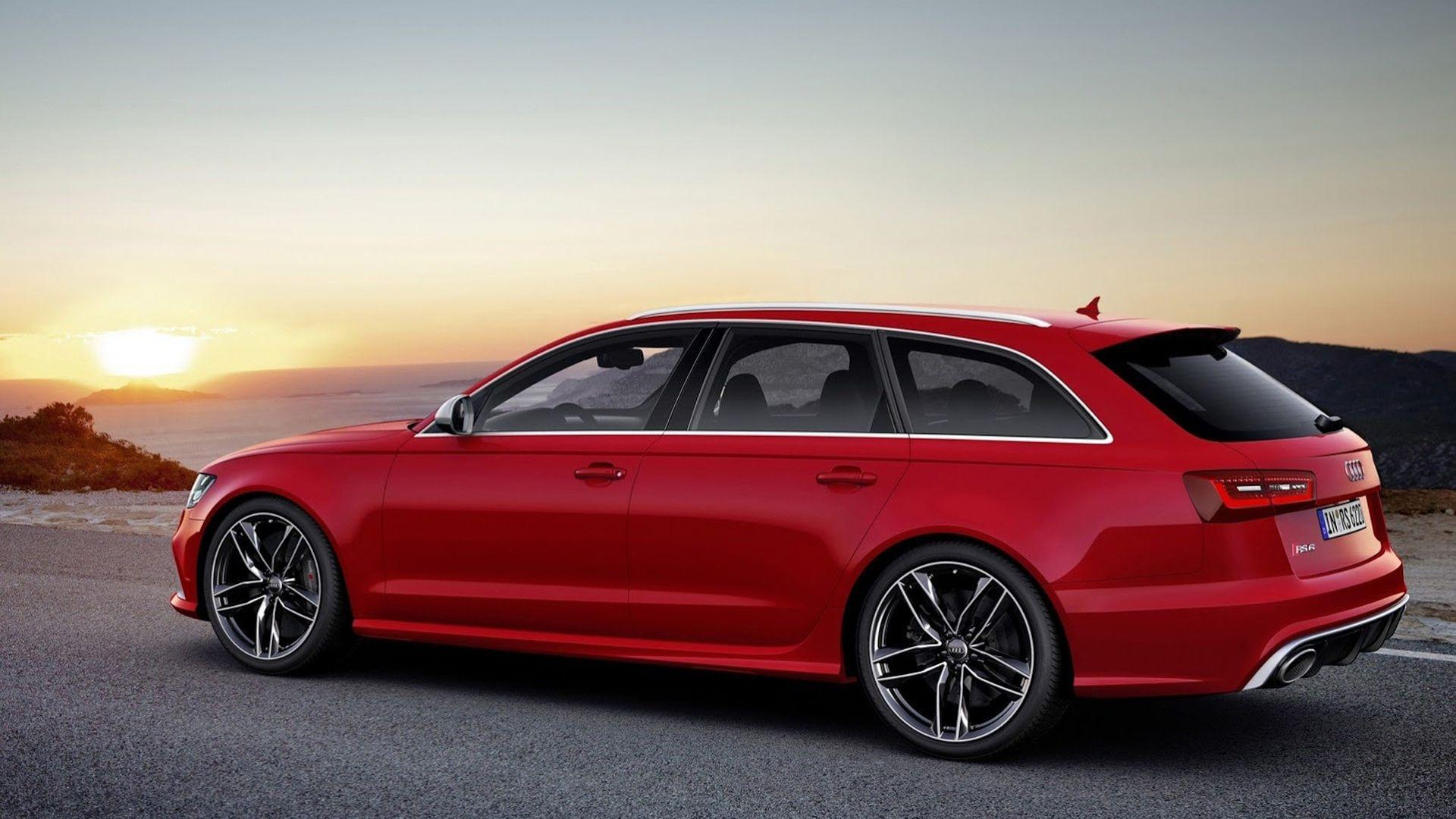 Download Wallpaper 1920x1080 Audi, V-8, Rs6 avant, Red, Side view ...