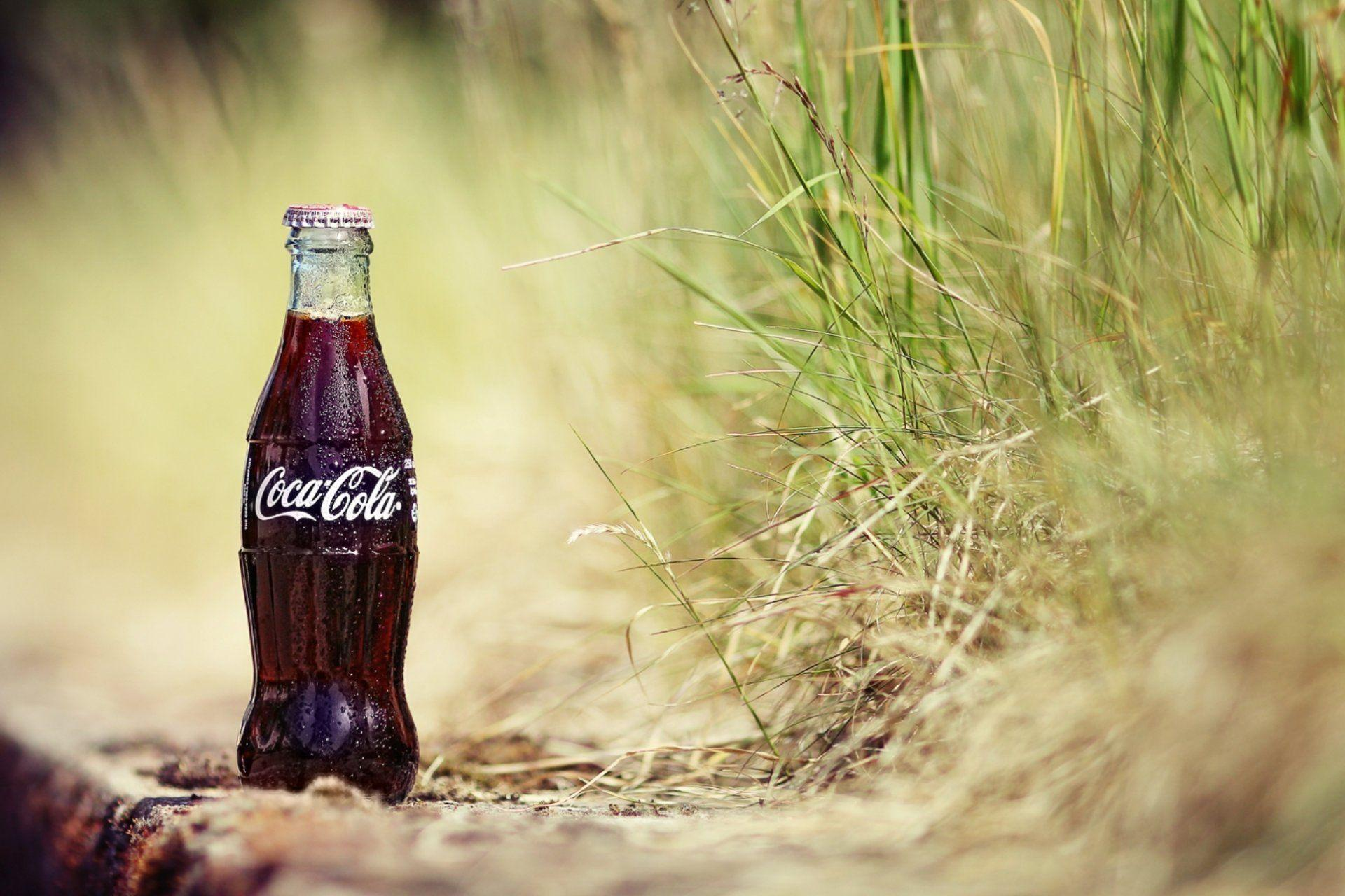 sand grass plants a bottle cola drops coca-cola coca-cola drink ...