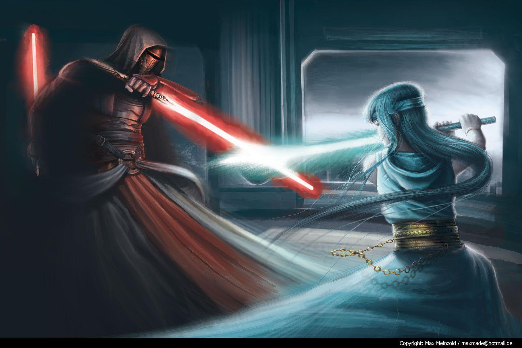 Wallpaper fight, revan, jedi, star wars, light saber desktop ...