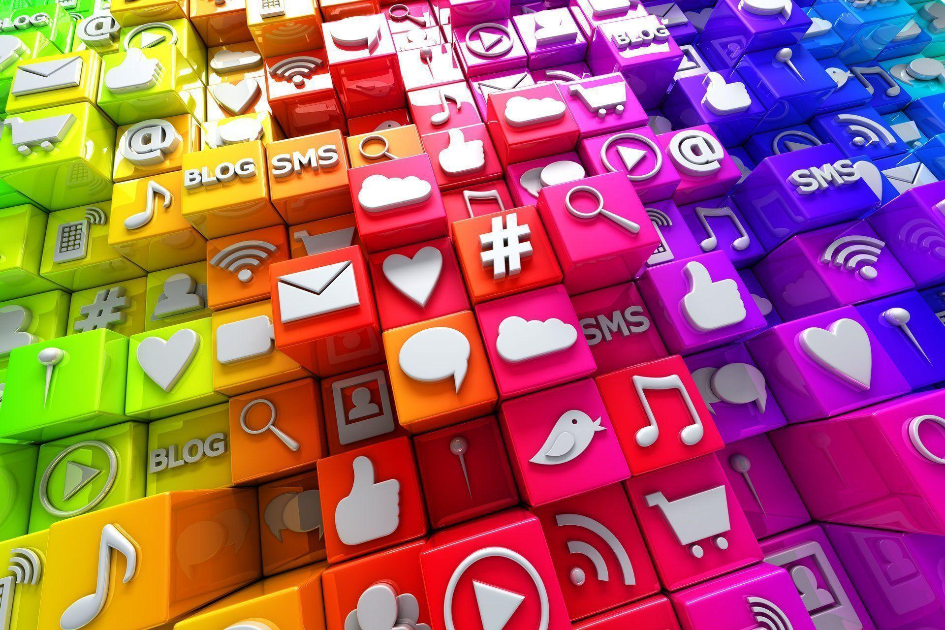 social media icons 3d cubes colorful blocks icons social networks