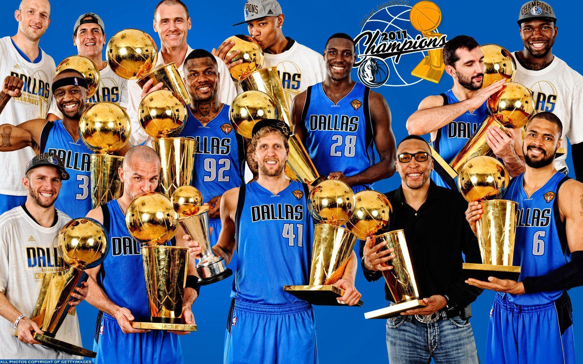 Dallas Mavericks 2011 Players With Trophies Widescreen Wallpaper ...